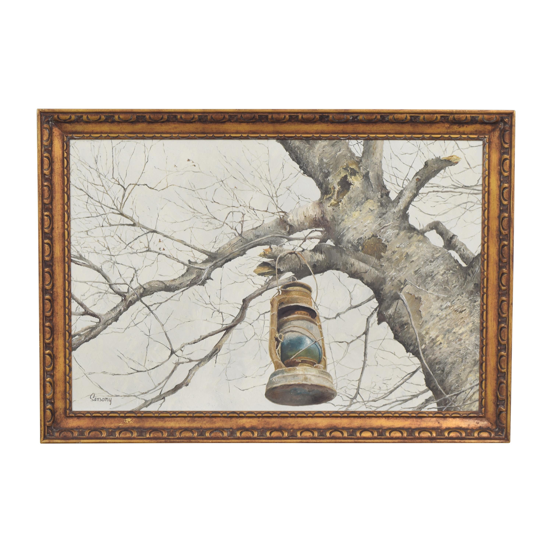 Robert Sarsony Tree and Lantern Framed Art Decor