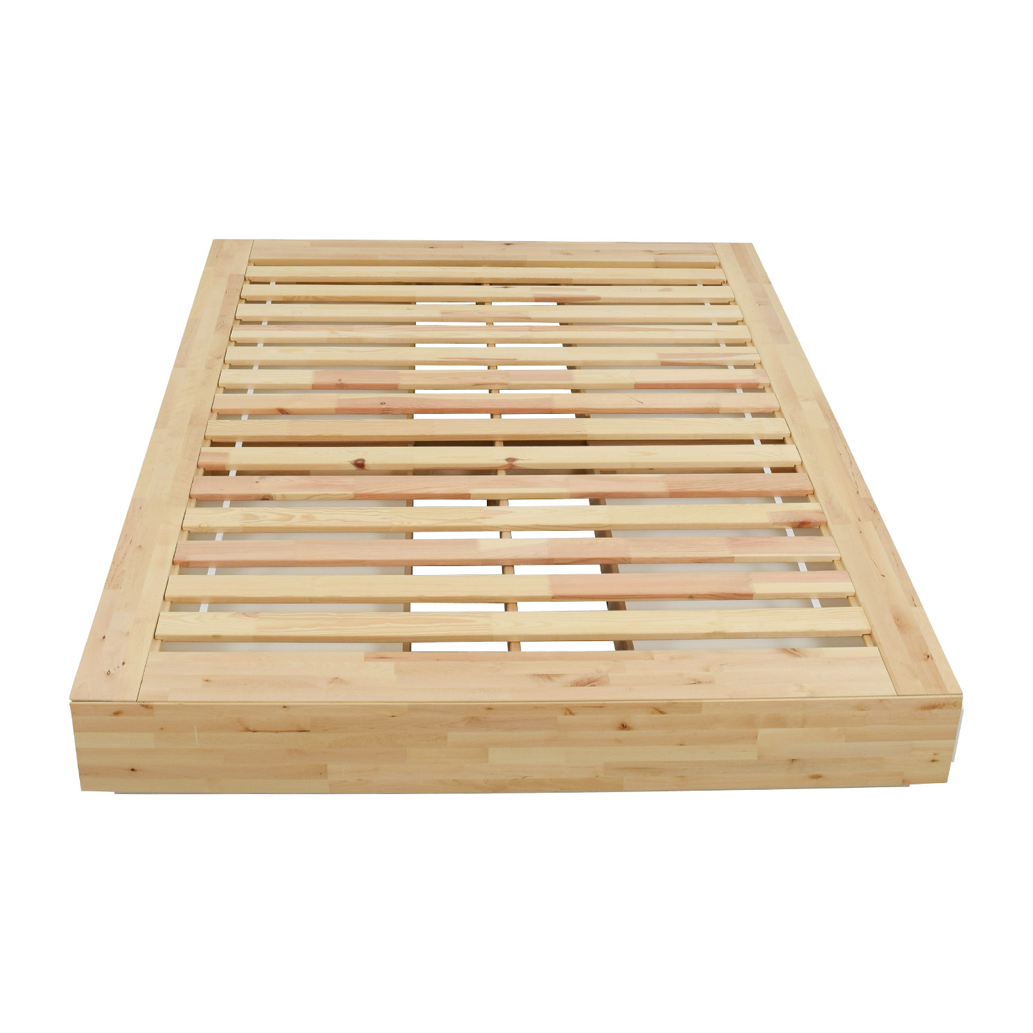 IKEA Birch Wood Queen Bed Frame with Storage Beds