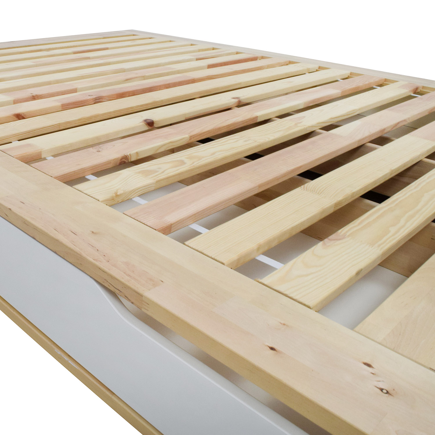 35 Off Ikea Birch Wood Queen Bed Frame With Storage Beds