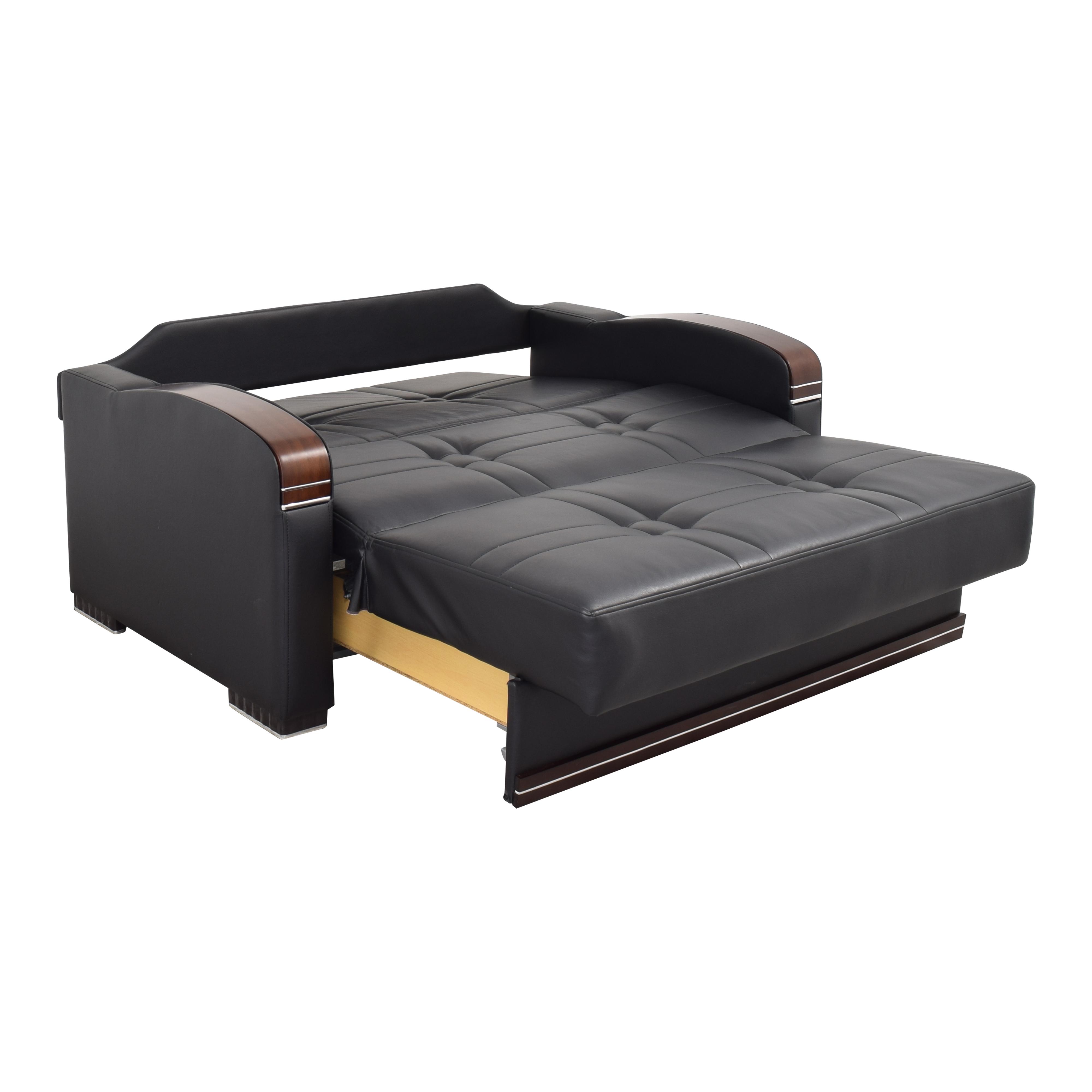Sofaitalia Sofaitalia Black Faux Leather Full Sleeper Sofa nj