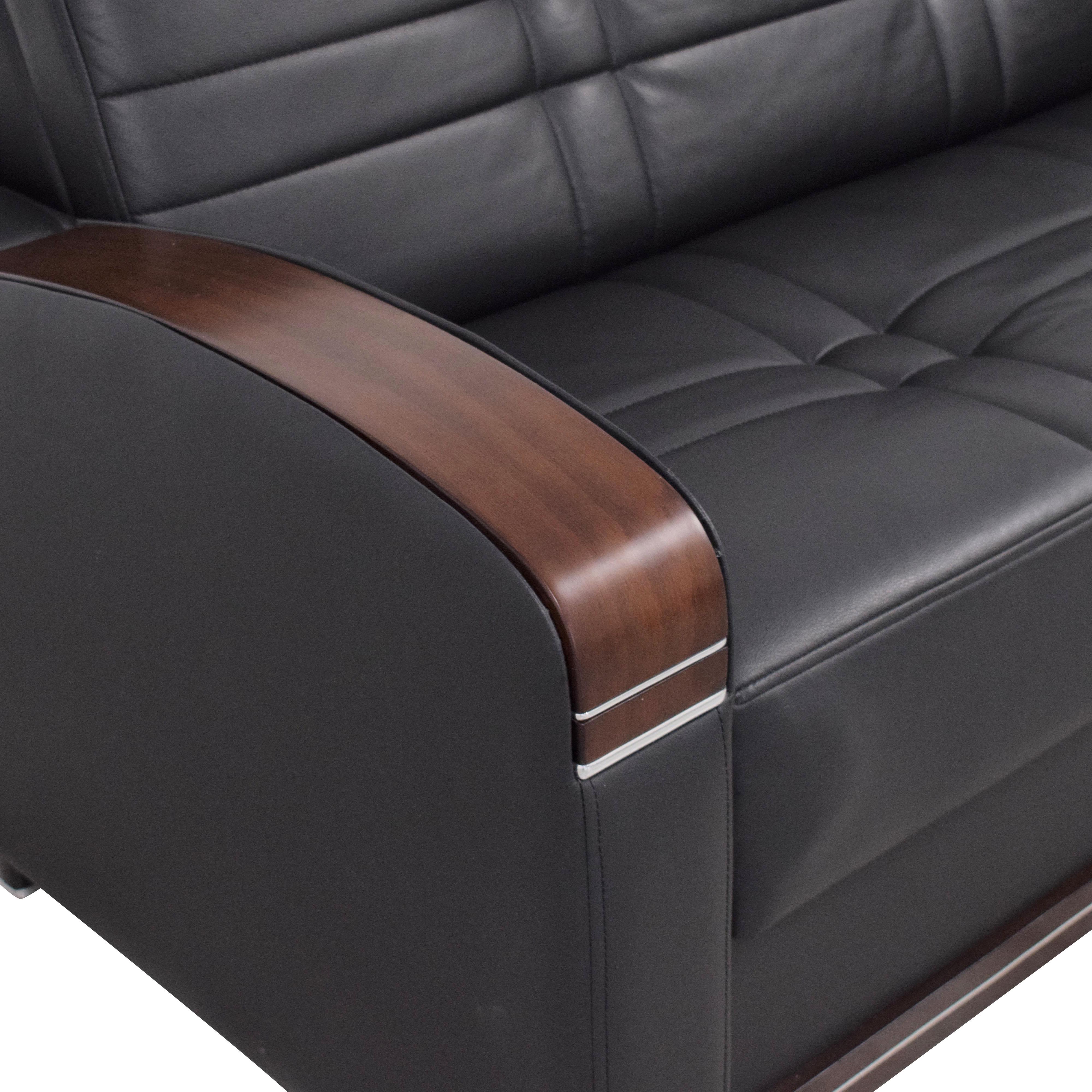 Sofaitalia Black Faux Leather Full Sleeper Sofa sale
