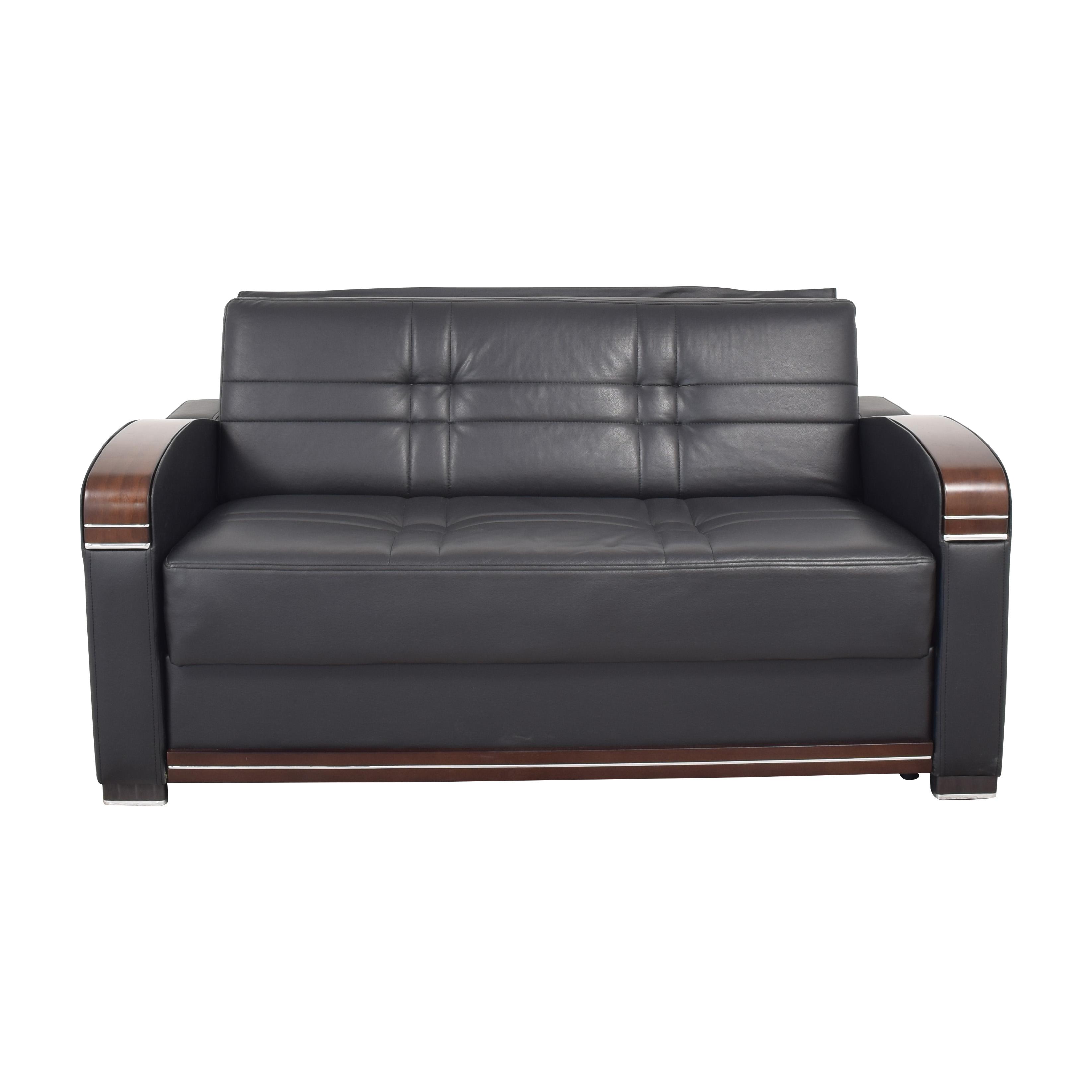 Sofaitalia Black Faux Leather Full Sleeper Sofa / Sofas