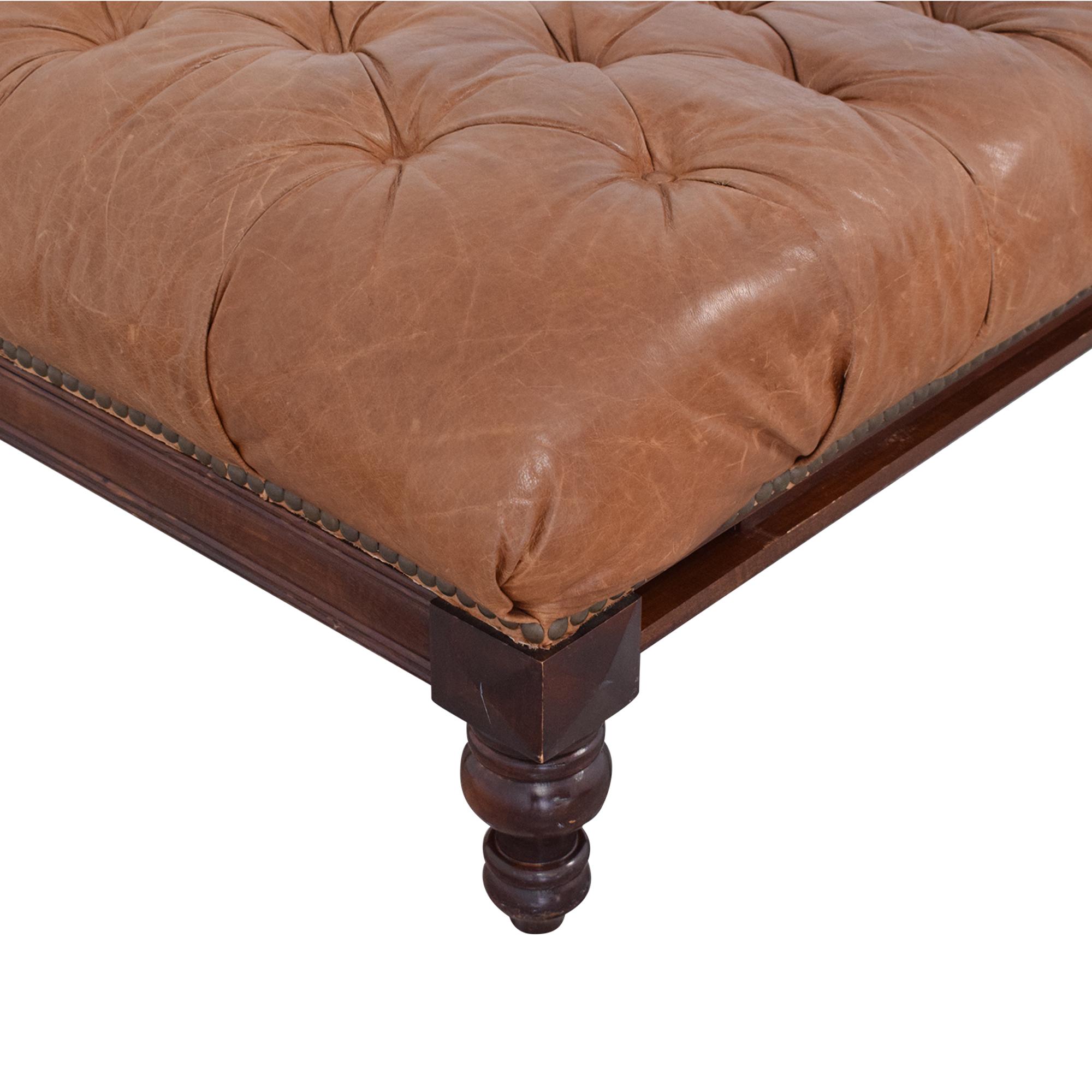 shop Tufted Leather Ottoman  Ottomans