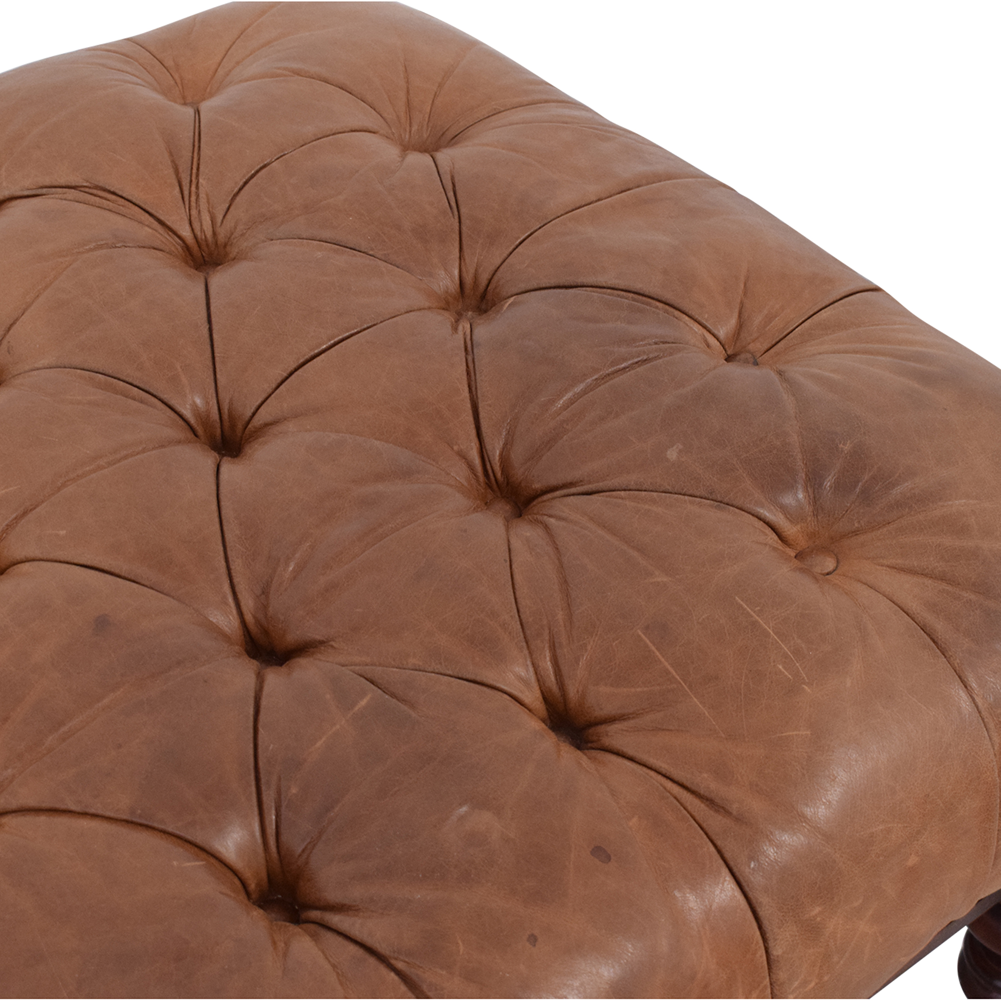 Tufted Leather Ottoman for sale