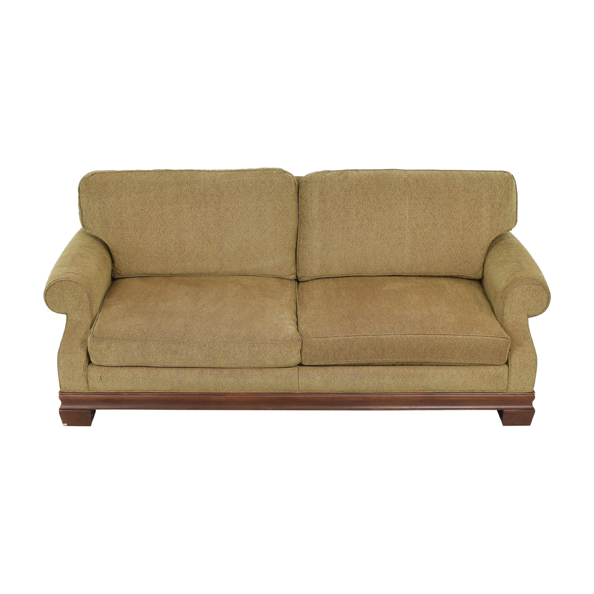 Custom Two Cushion Roll Arm Sofa brown