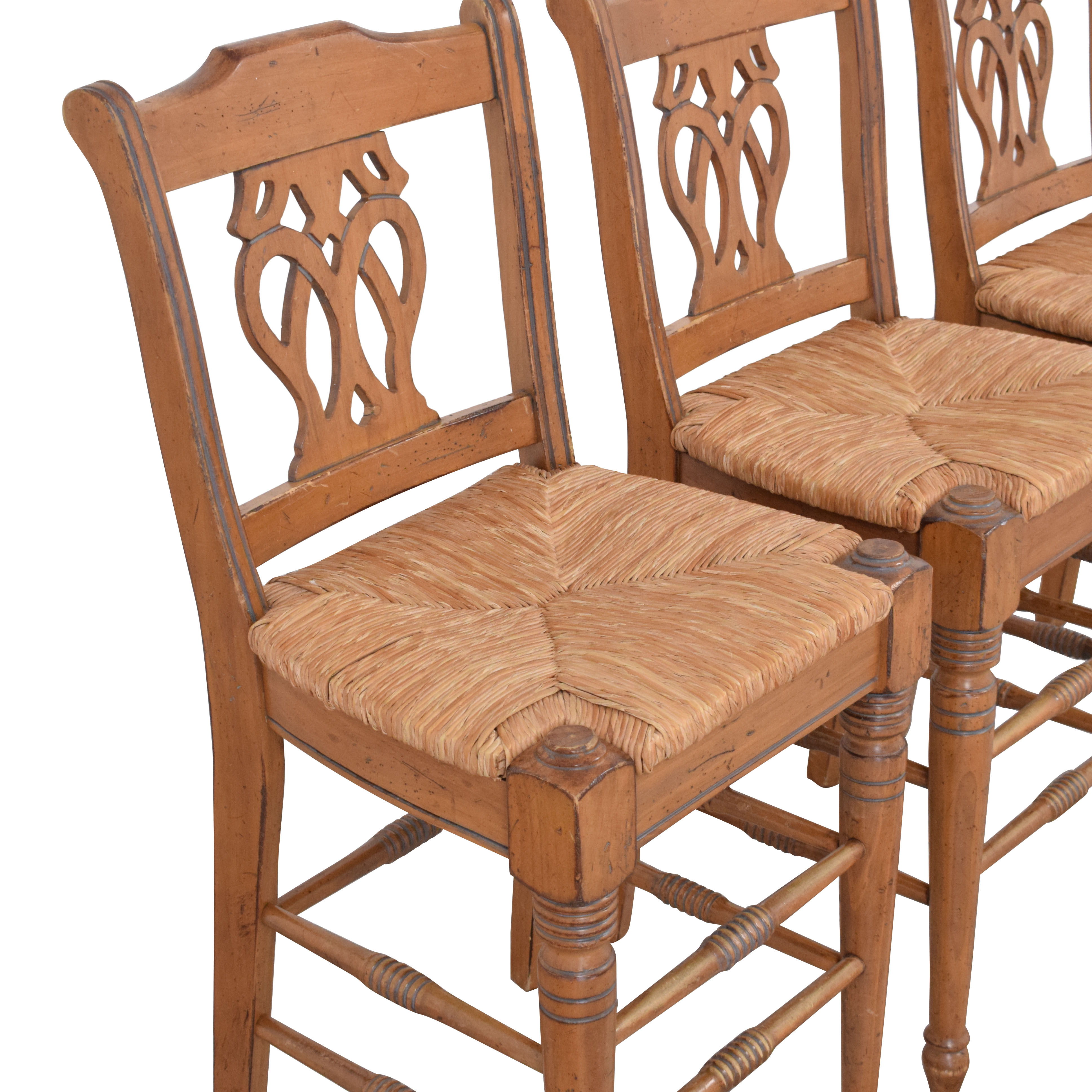 Counter Height Rush Seat Bar Stools brown