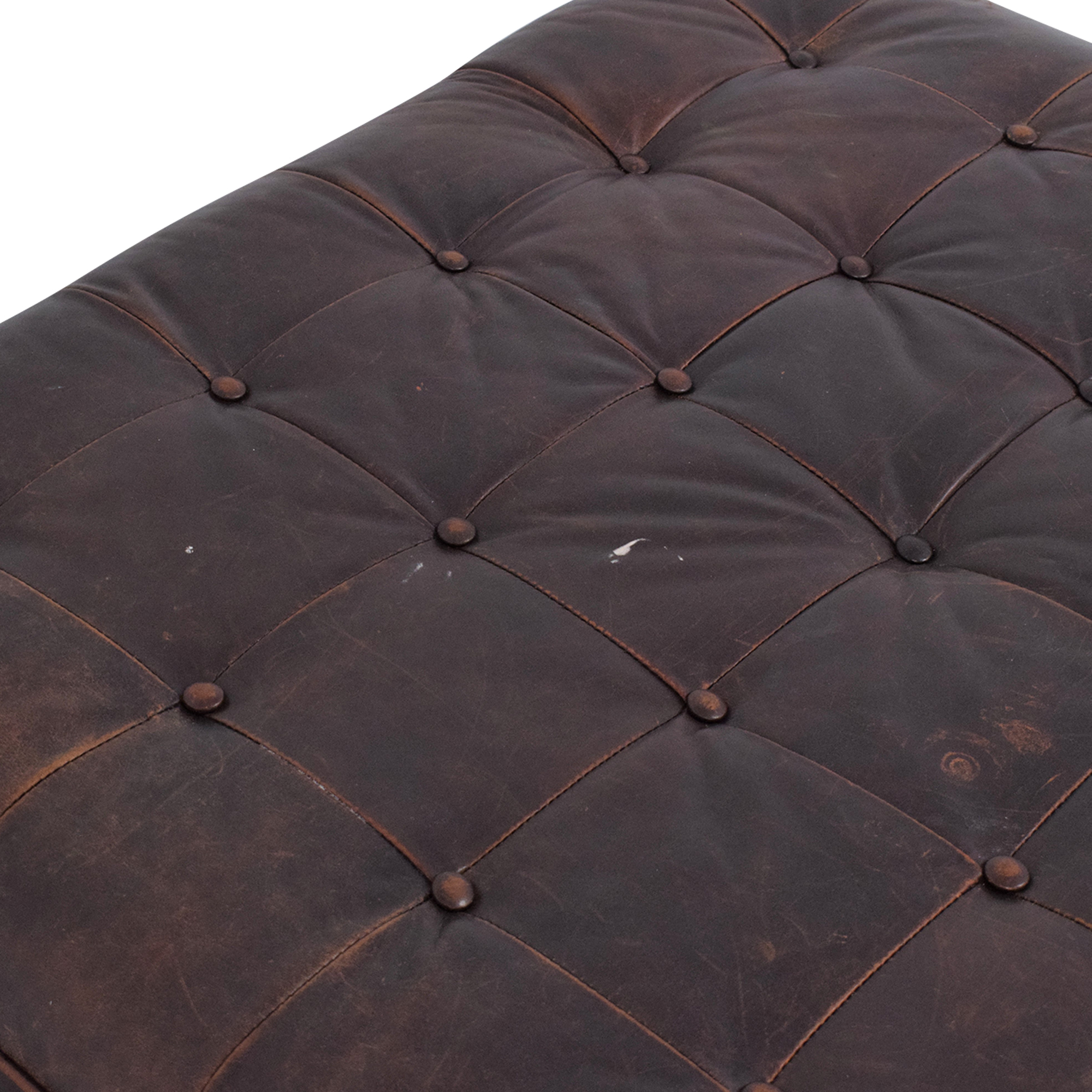 Lee Industries Lee Industries Leather Tufted Ottoman nyc