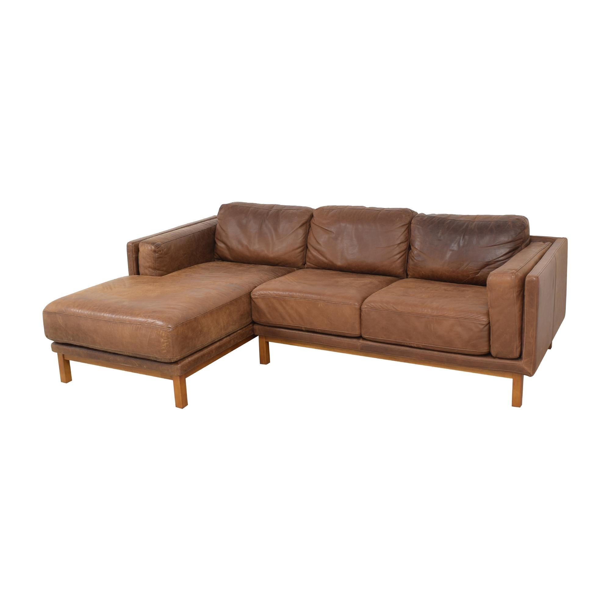 West Elm West Elm Dekalb Leather 2-Piece Chaise Sectional dimensions