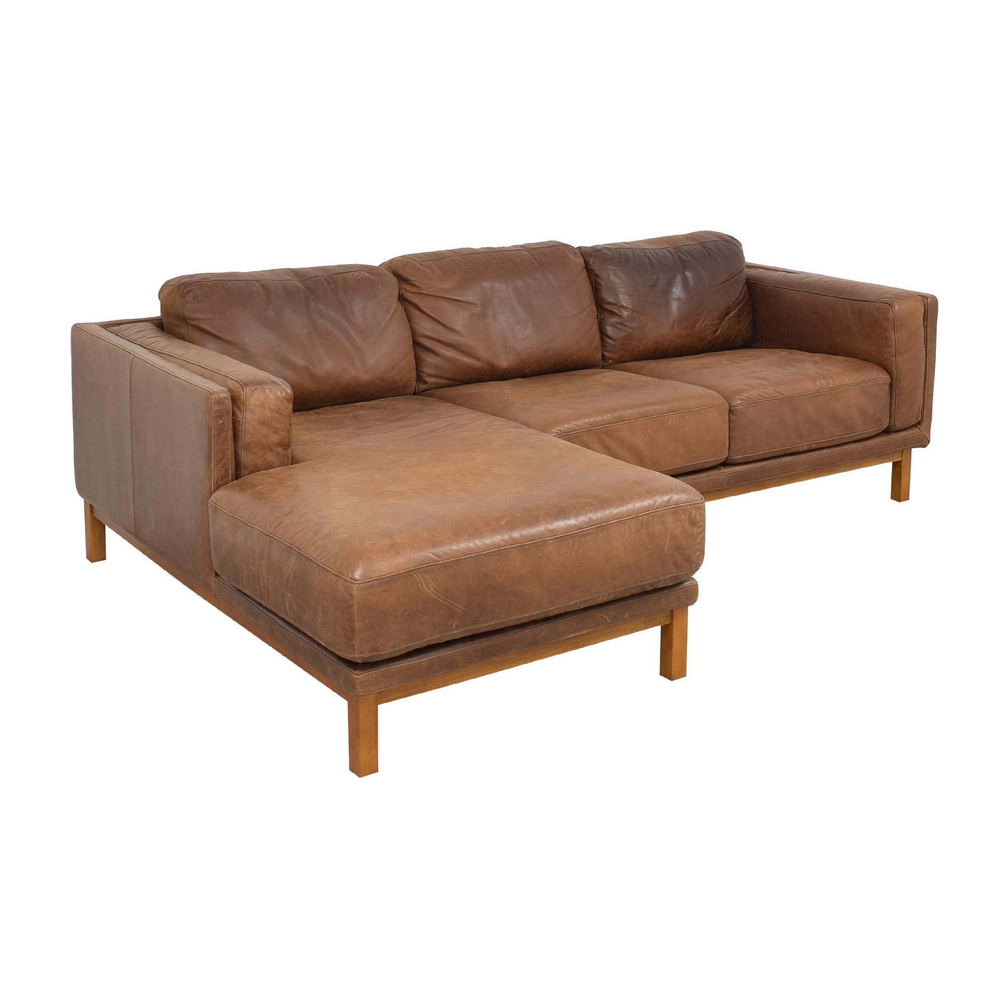 West Elm West Elm Dekalb Leather 2-Piece Chaise Sectional on sale