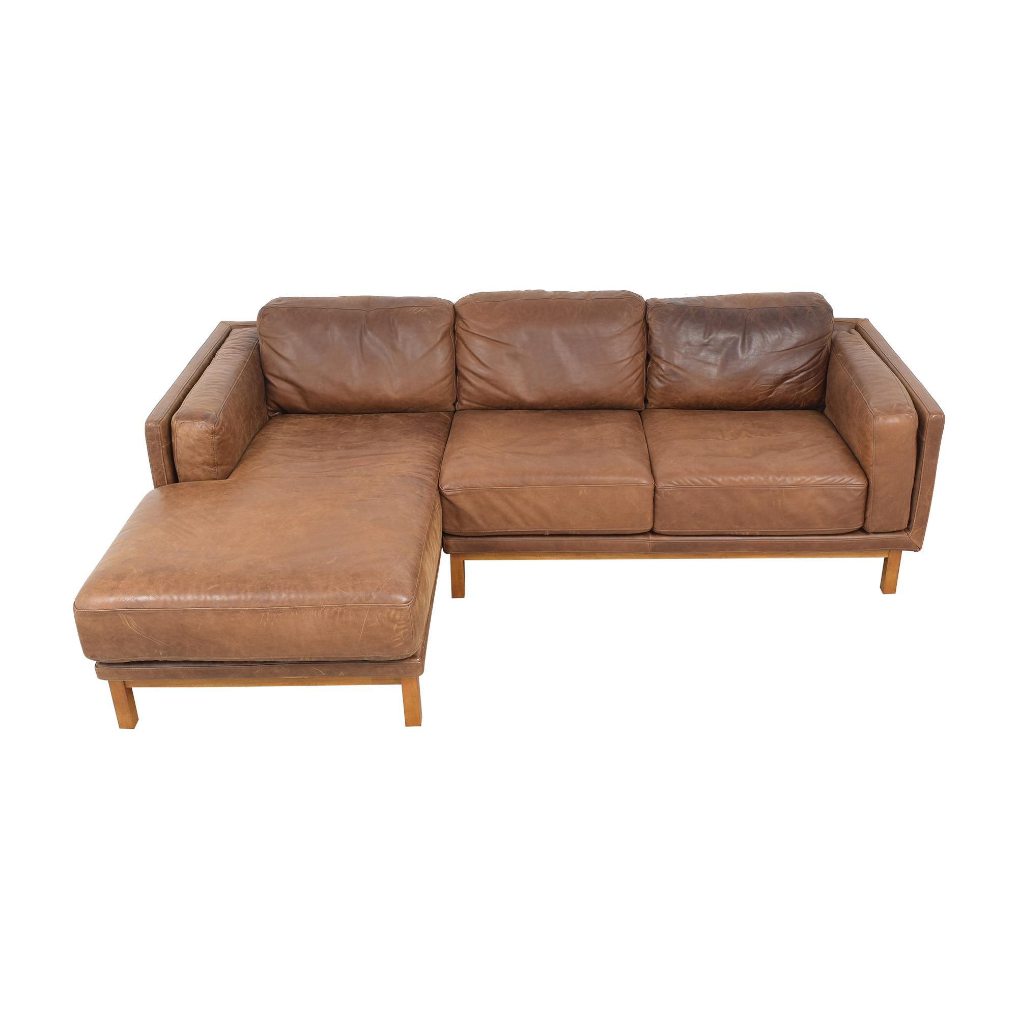 West Elm Dekalb Leather 2-Piece Chaise Sectional sale