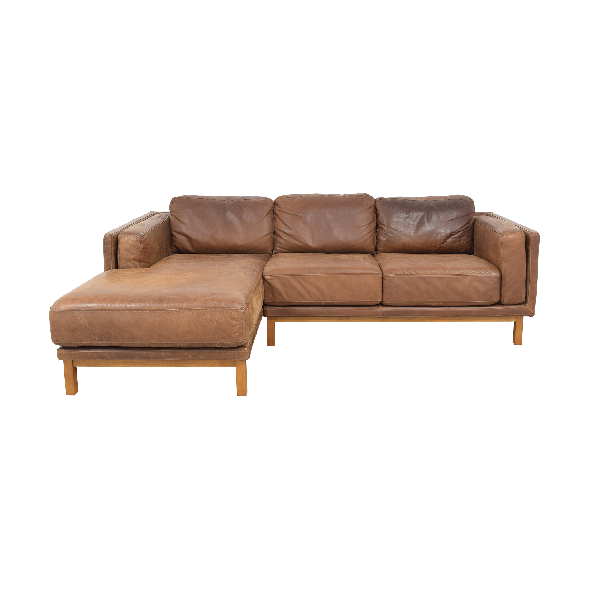 West Elm Dekalb Leather 2-Piece Chaise Sectional / Sectionals