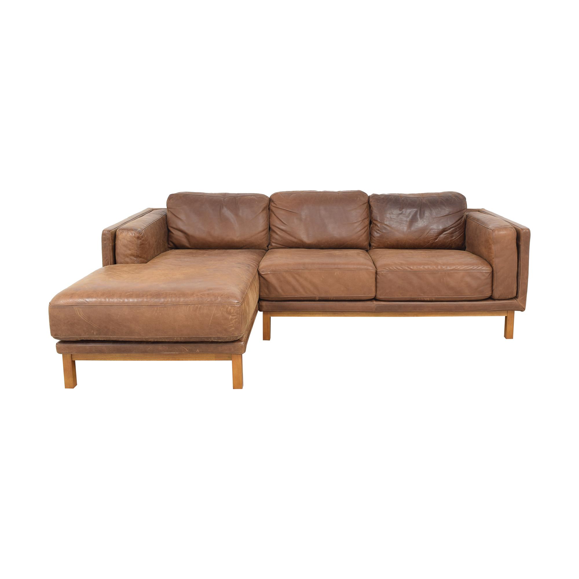 West Elm West Elm Dekalb Leather 2-Piece Chaise Sectional Sectionals