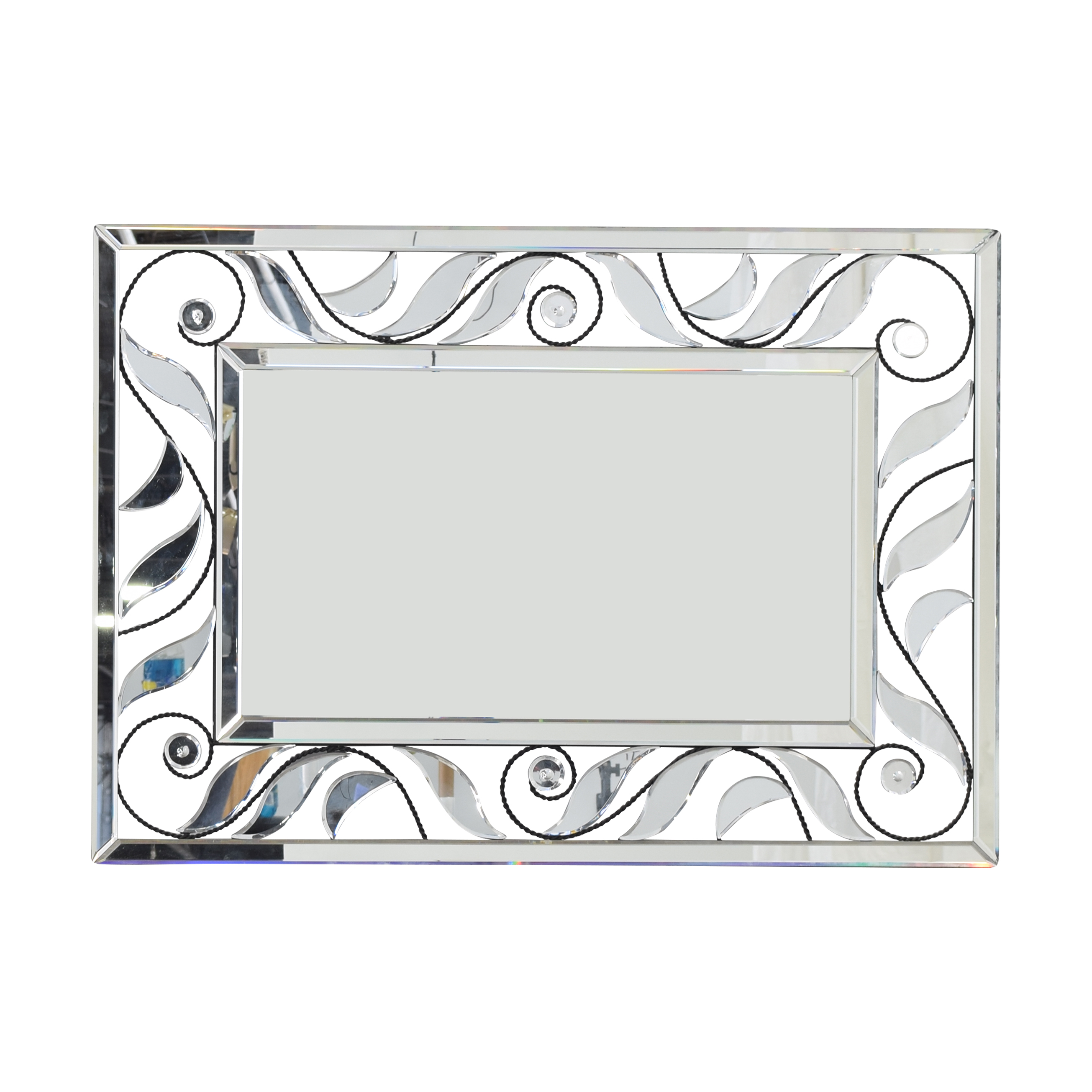 Glass and Iron Framed Mirror dimensions