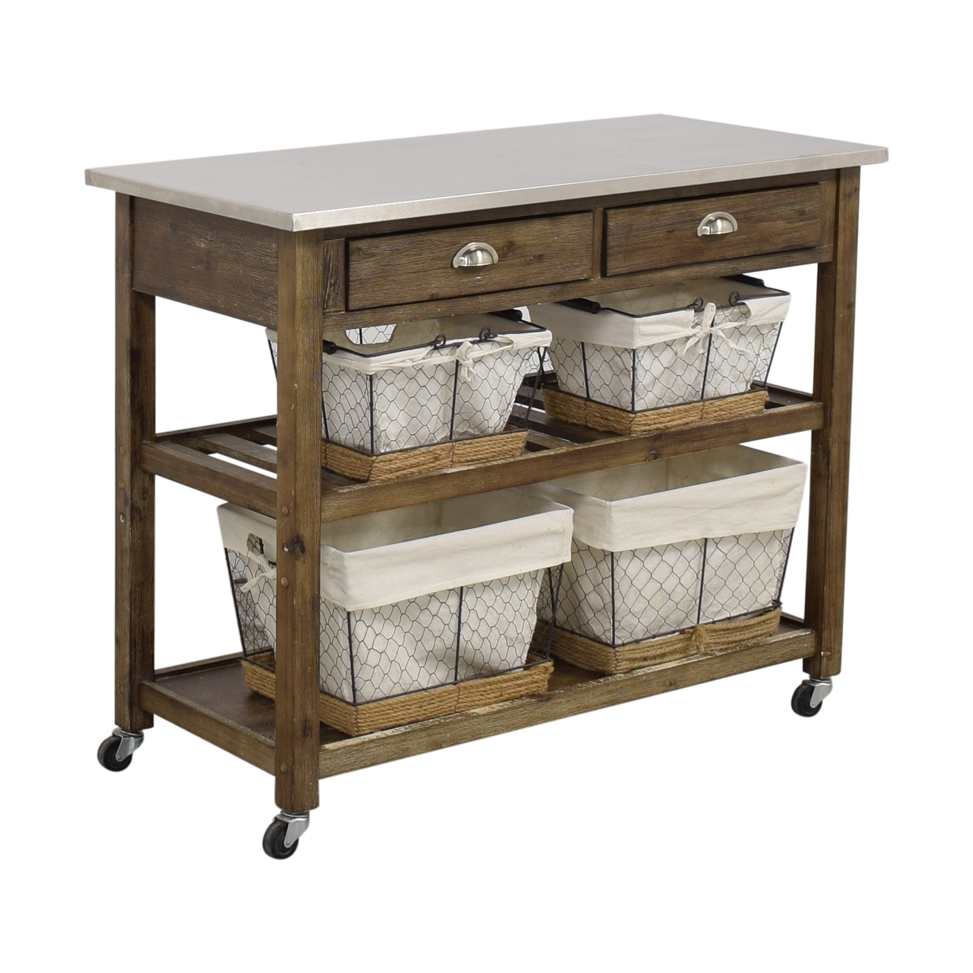 Home Styles Two-Drawer Utility Cart with Steel Top and Five Wire Baskets / Utility Tables