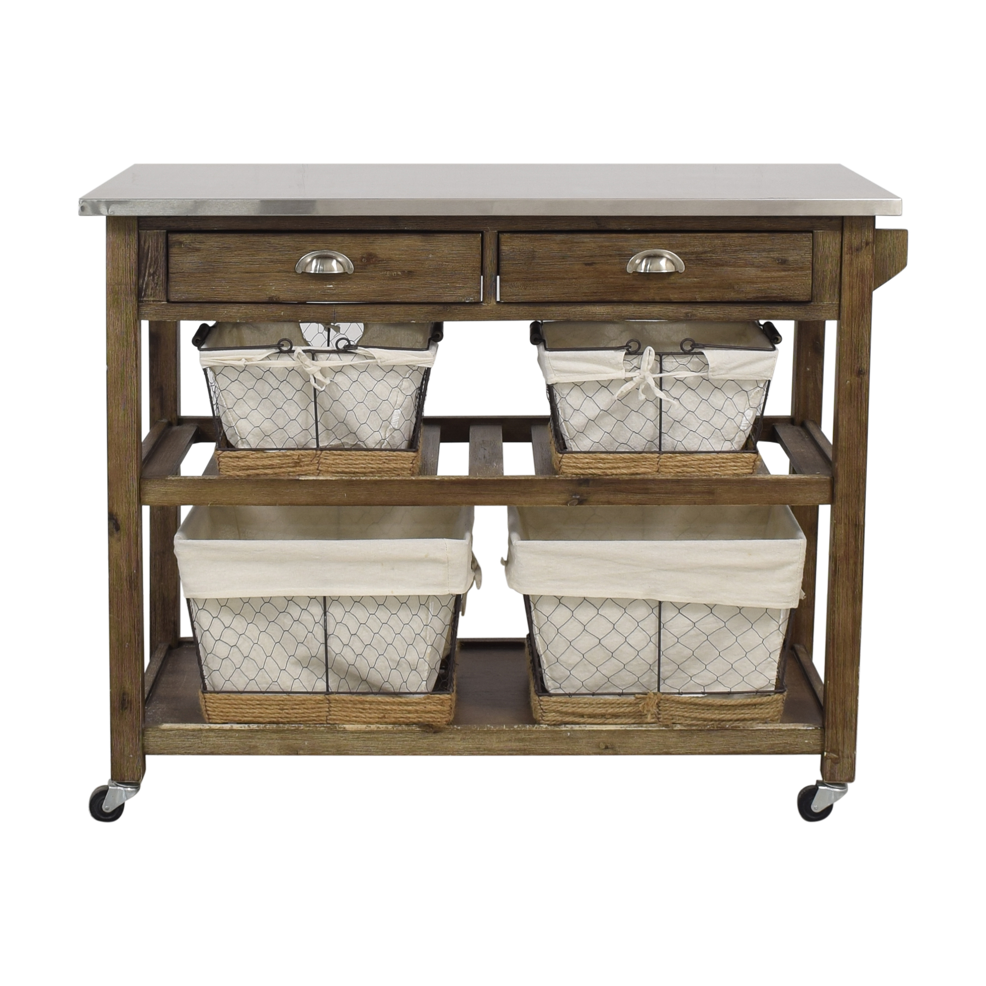 shop Home Styles Home Styles Two-Drawer Utility Cart with Steel Top and Five Wire Baskets online