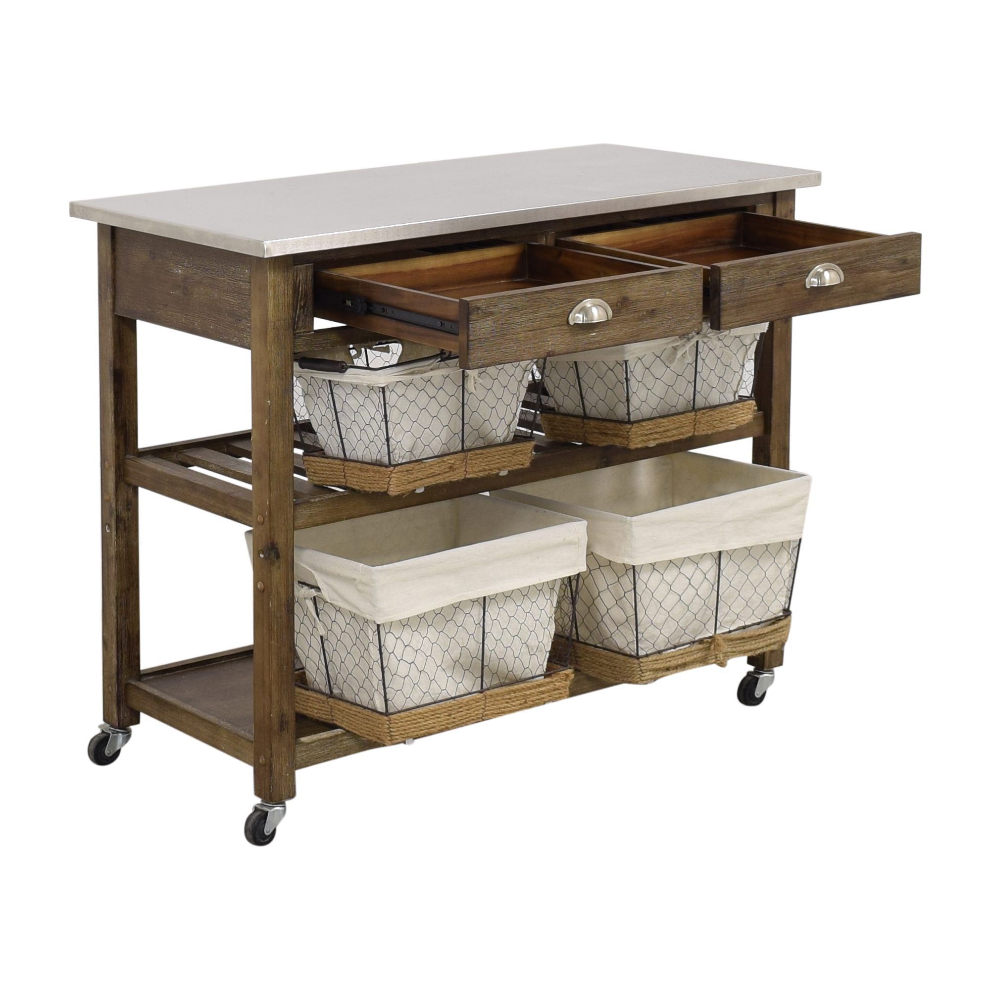 buy Home Styles Home Styles Two-Drawer Utility Cart with Steel Top and Five Wire Baskets online