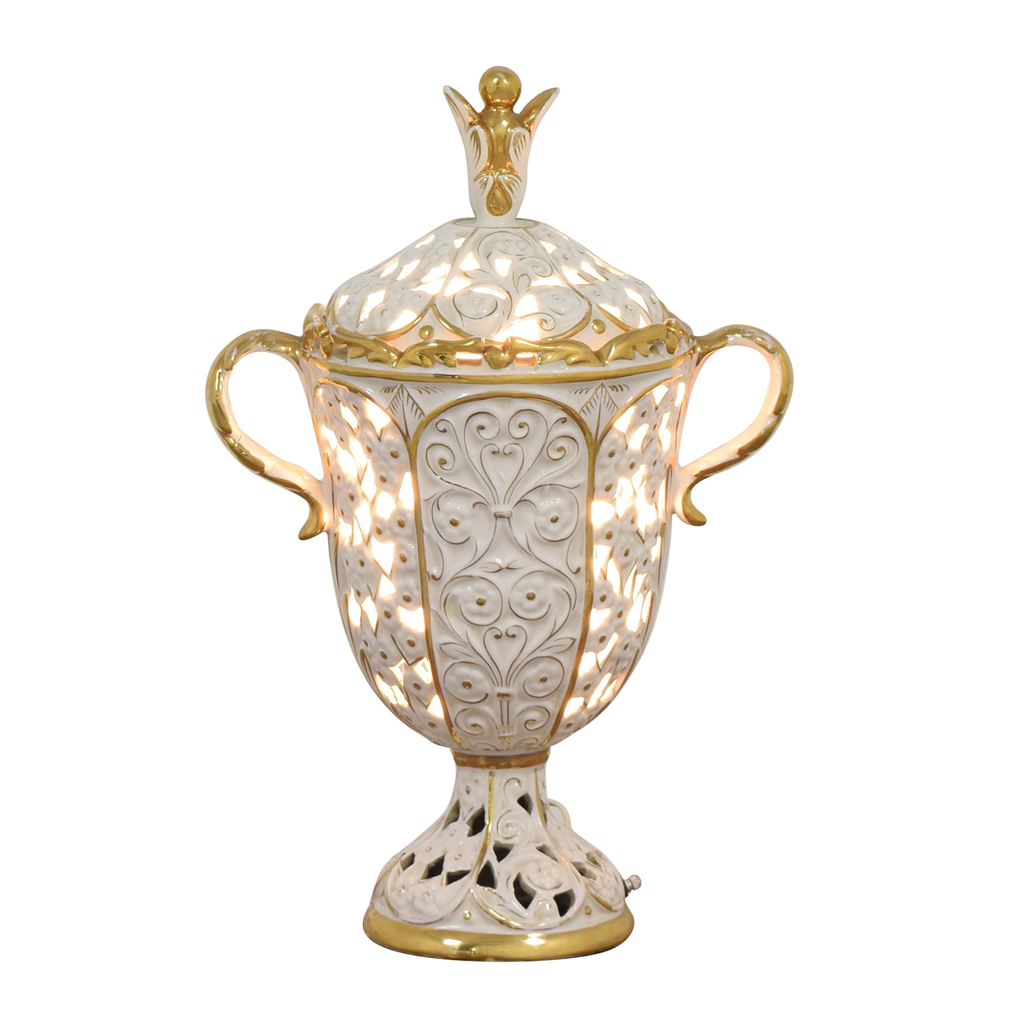 Vintage White and Gold Porcelain Pierced Electric Lamp coupon