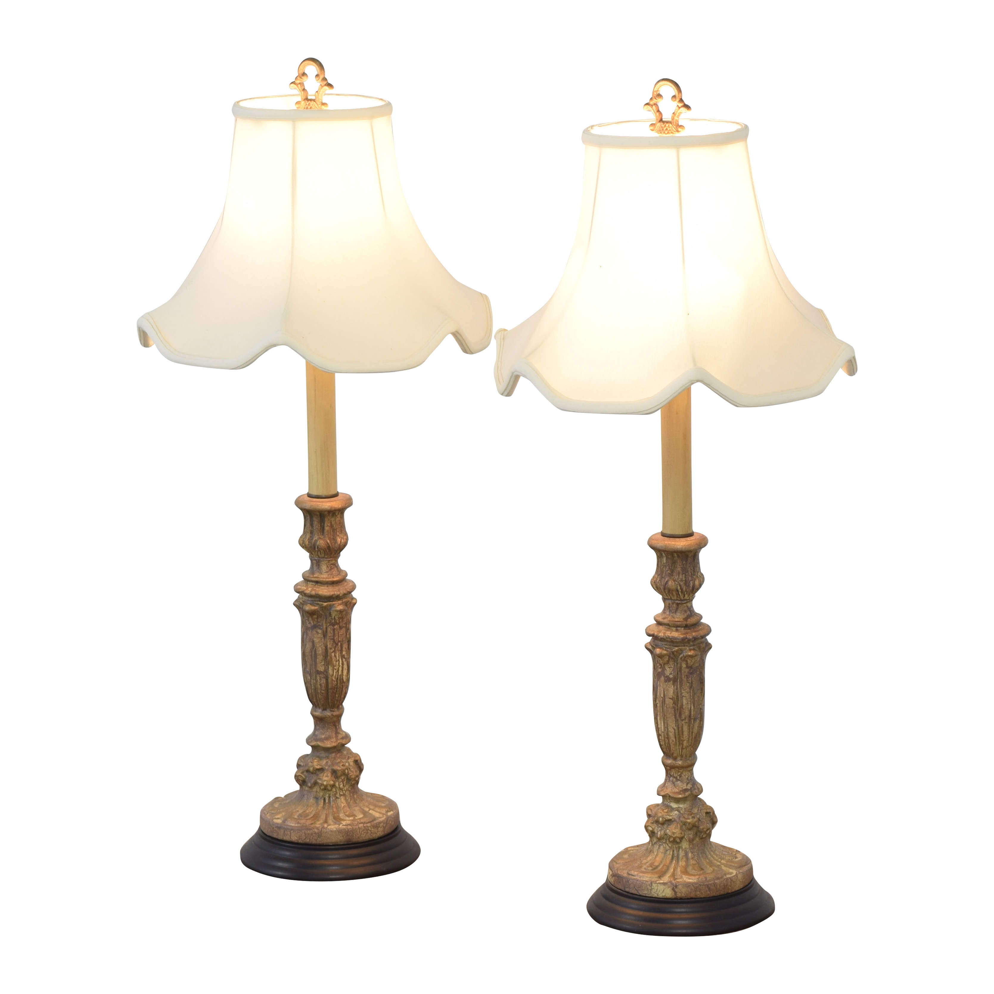 Italian Giltwood Candlestick Table Lamps