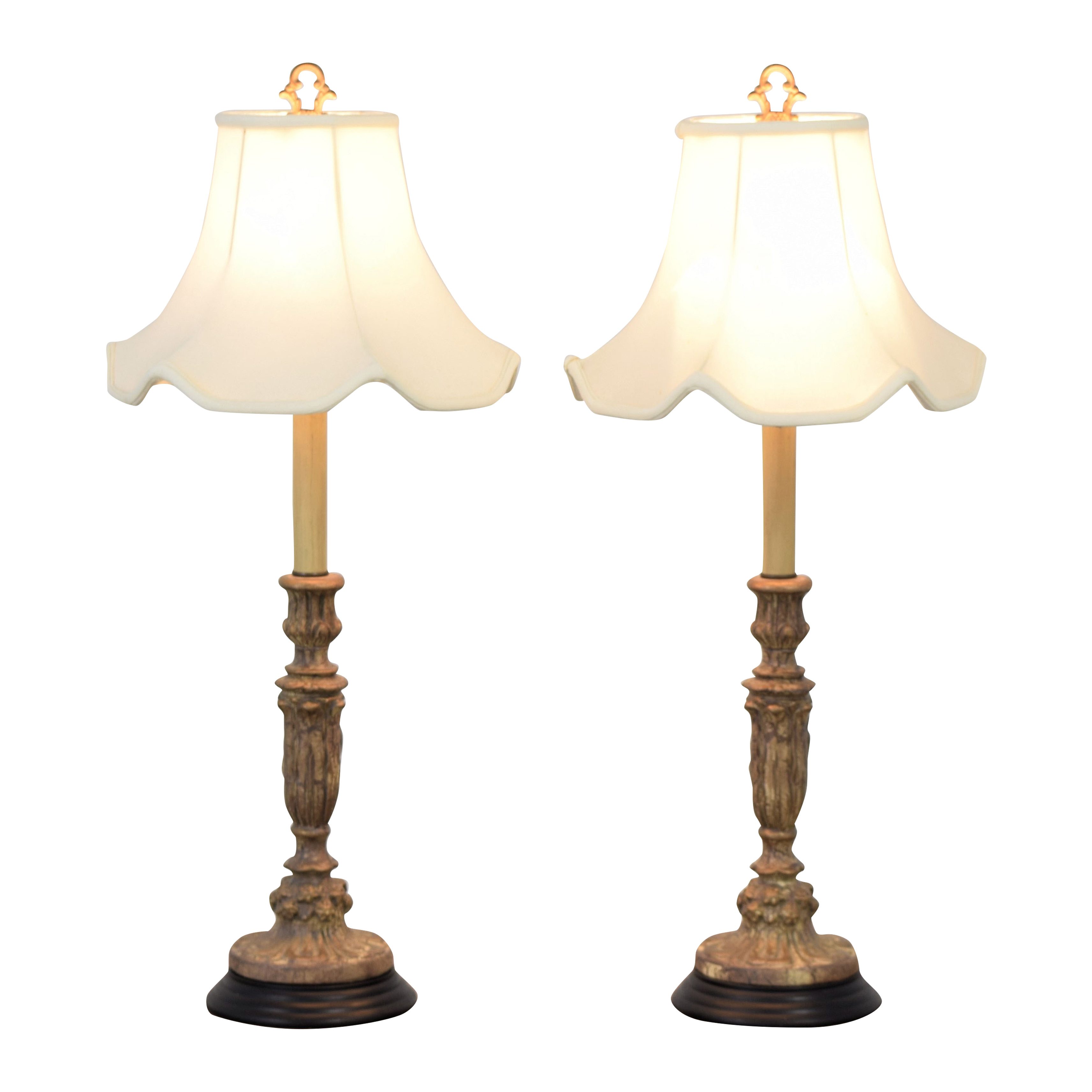 buy Italian Giltwood Candlestick Table Lamps  Decor