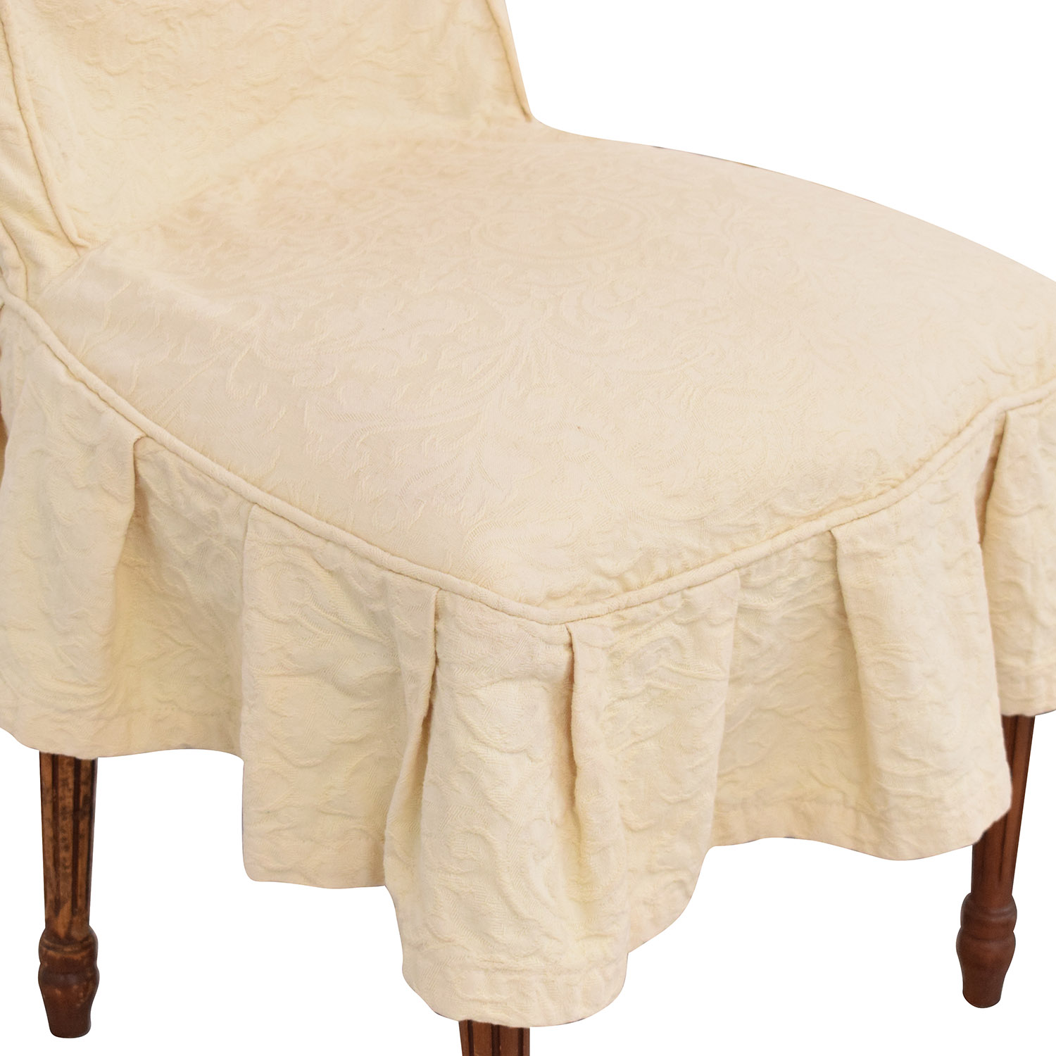 French Style Dining Chairs with Slip Covers beige and brown