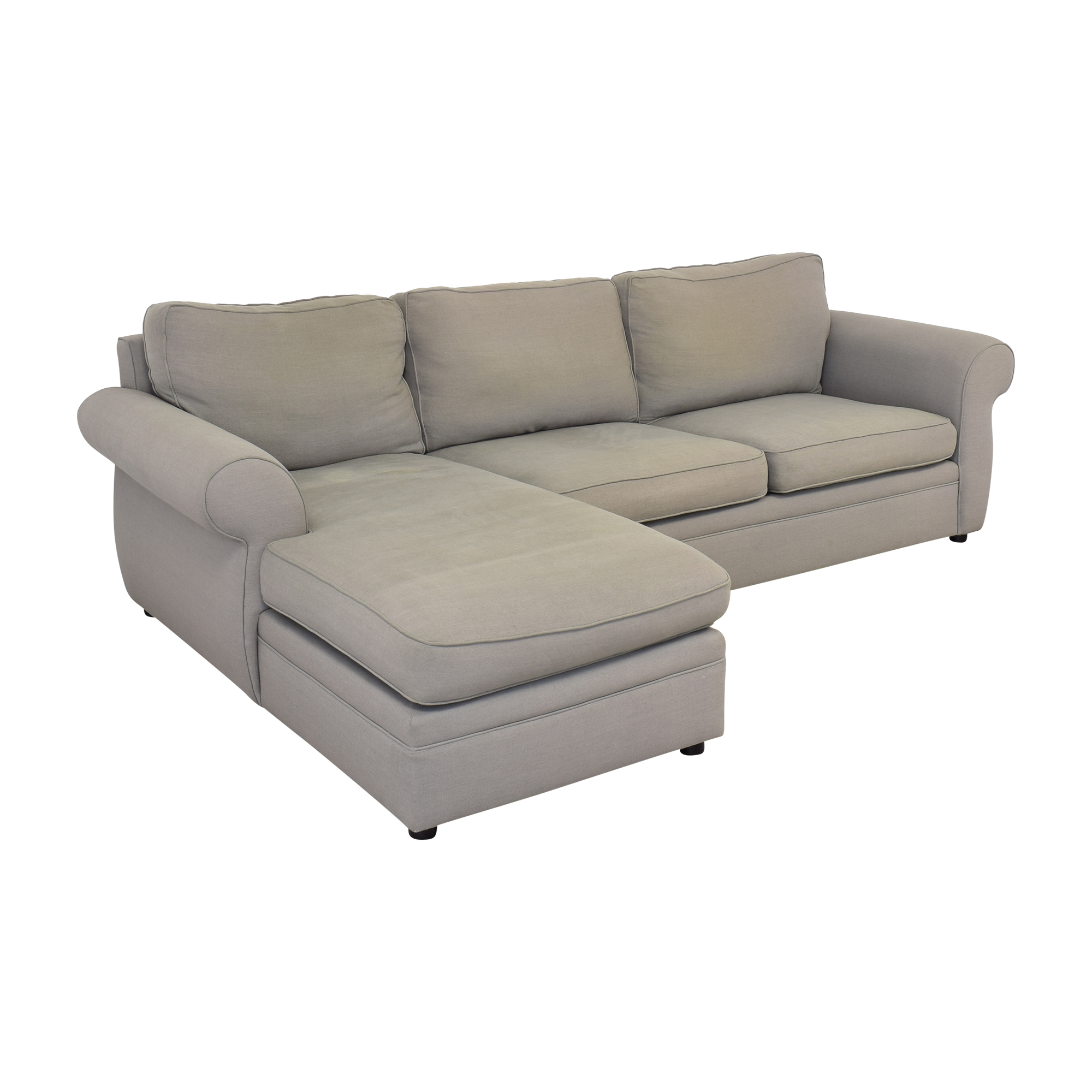 shop Pottery Barn Pearce Roll Arm Left Loveseat with Chaise Sectional Pottery Barn Sectionals