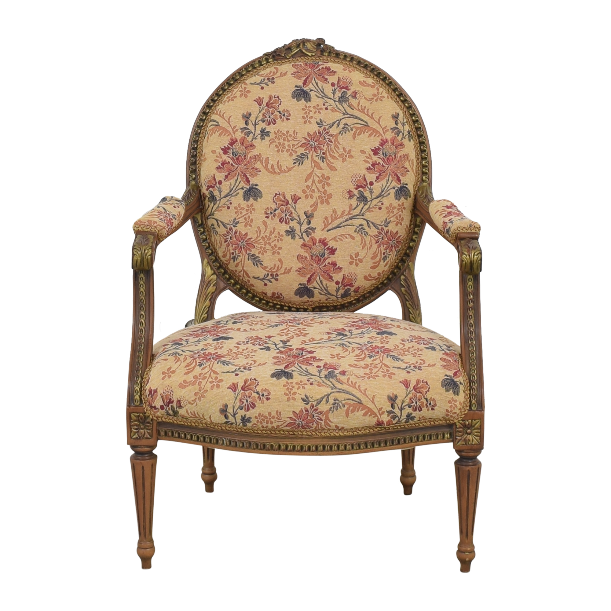 Custom Floral Upholstered Accent Chair dimensions