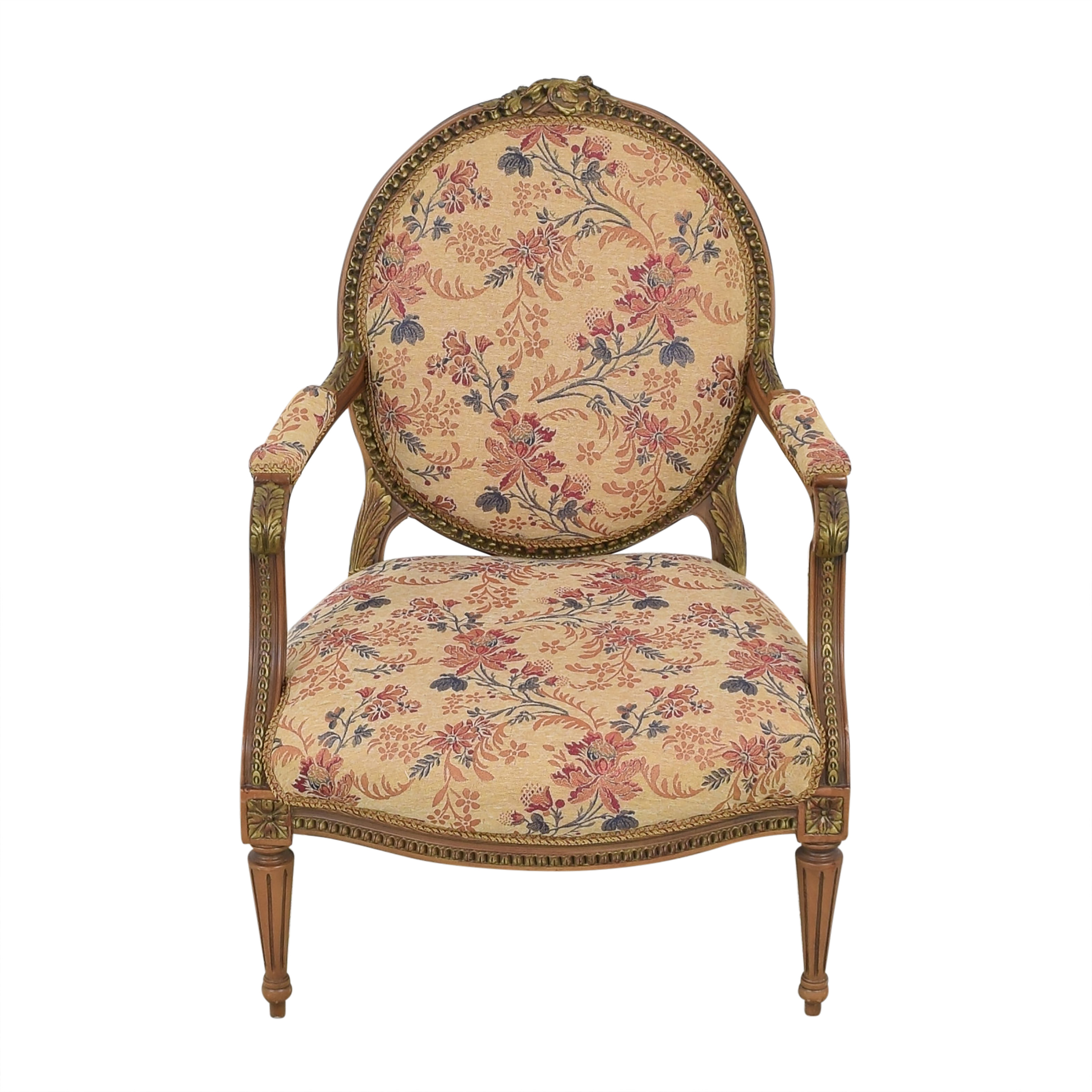 Custom Floral Upholstered Accent Chair second hand