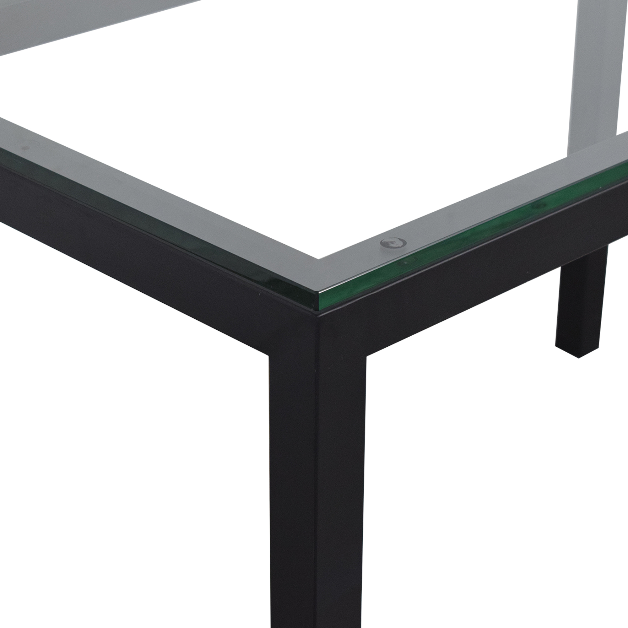Crate & Barrel Crate & Barrel Glass and Steel Parsons Table pa
