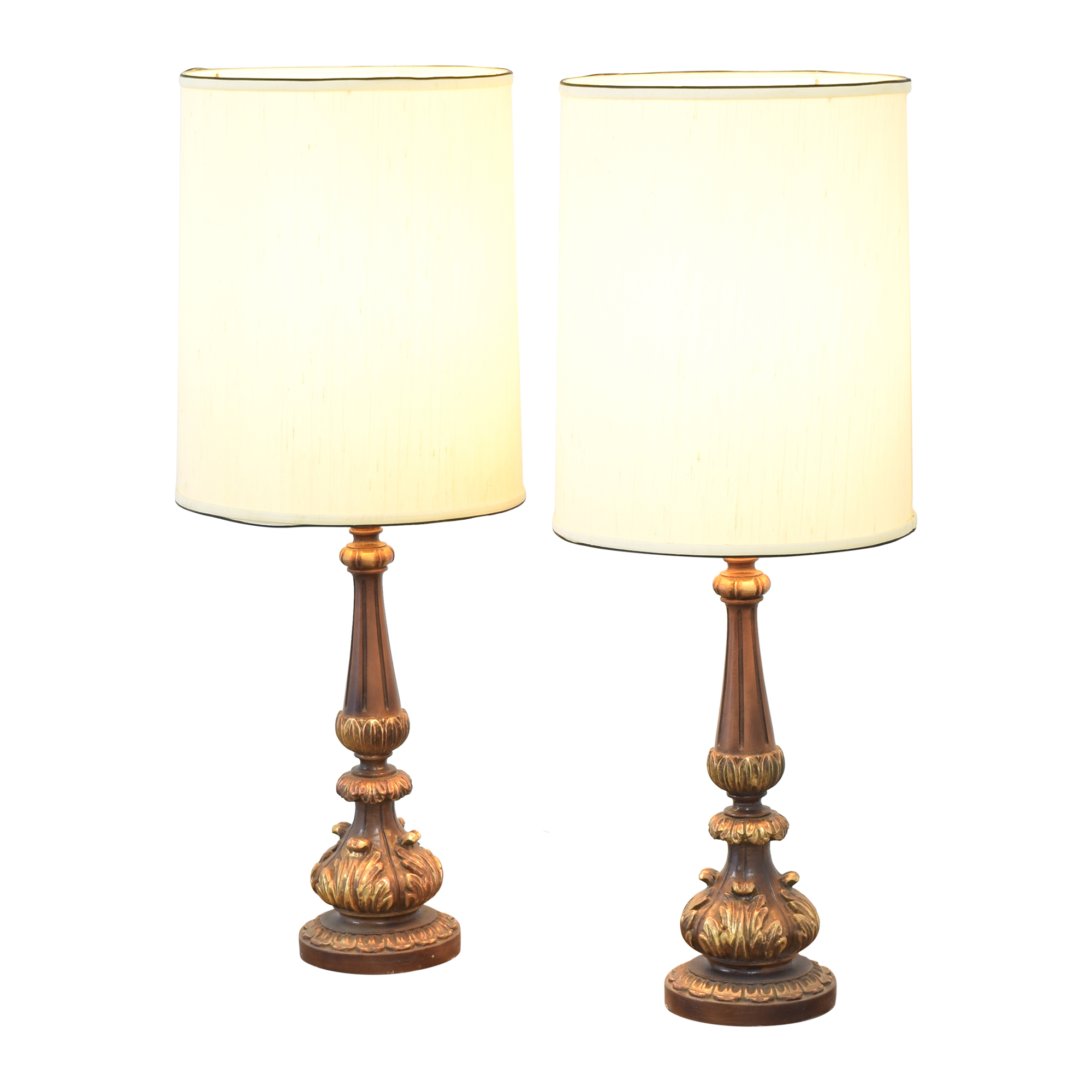 Tall Barrel Shaded Mid-Century Table Lamps ma
