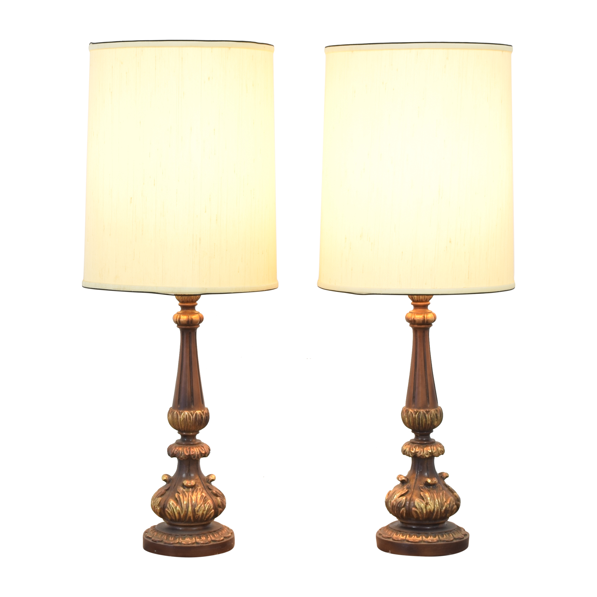 Tall Barrel Shaded Mid-Century Table Lamps for sale
