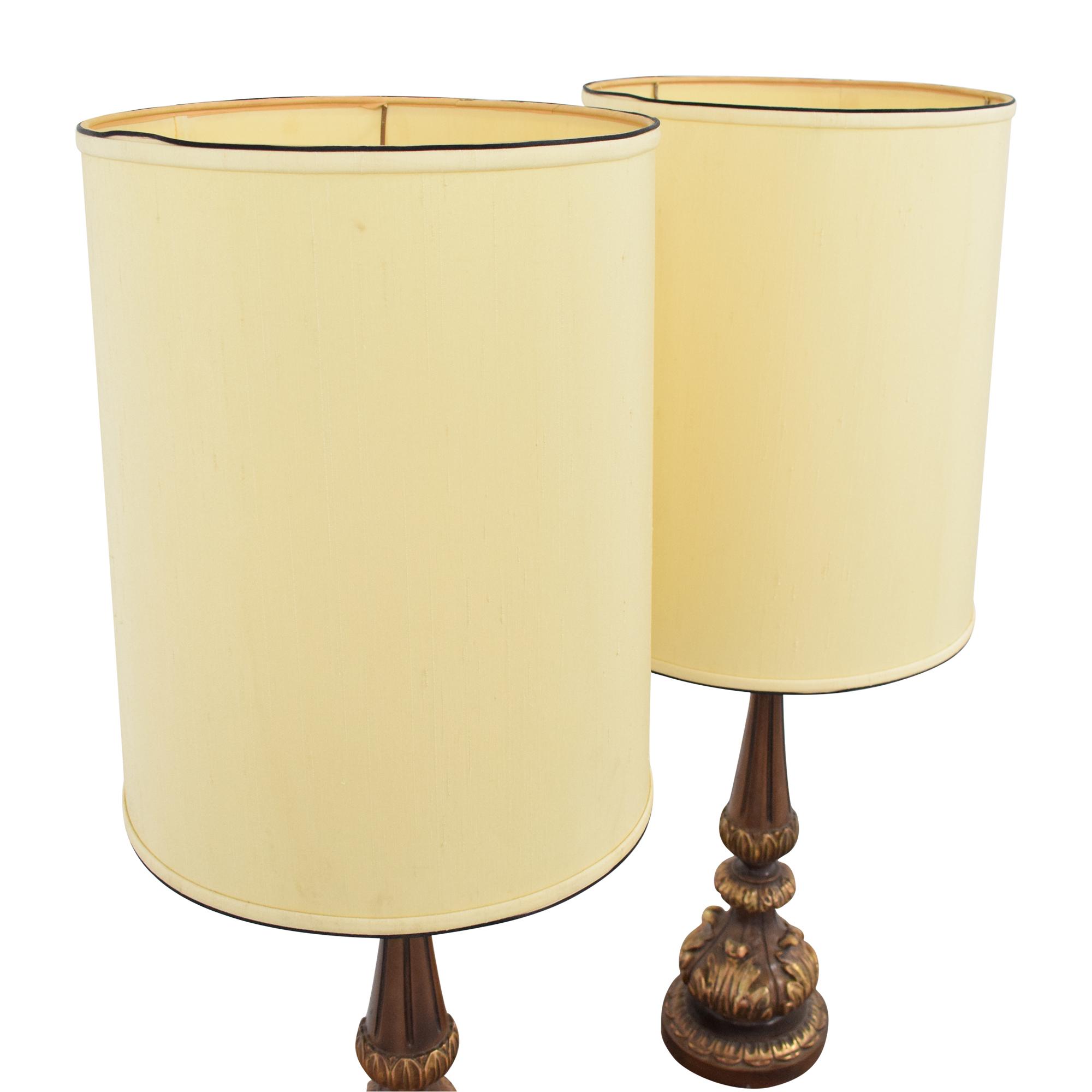 Tall Barrel Shaded Mid-Century Table Lamps nj