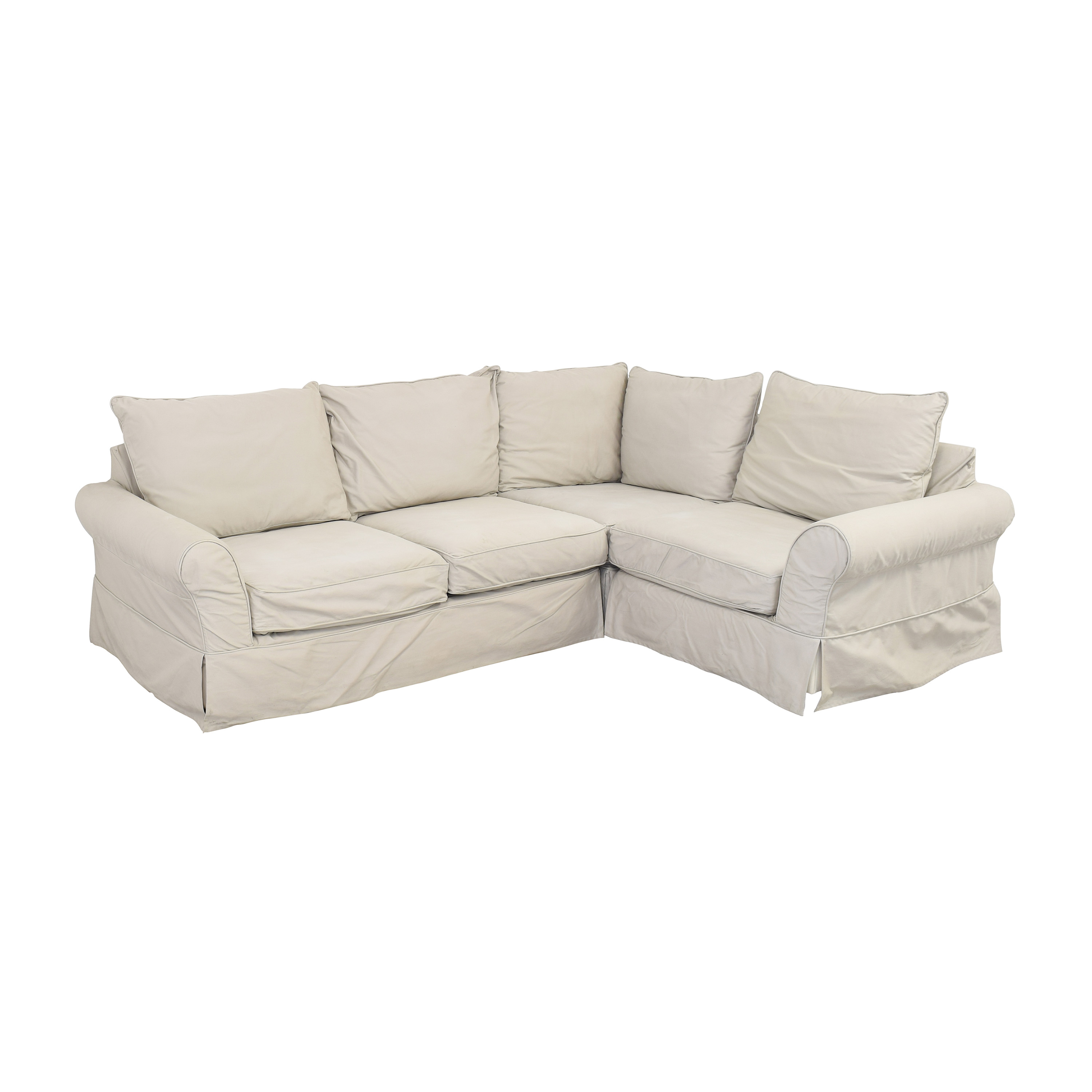 shop Pottery Barn Comfort Slipcovered Corner Sectional Sofa Pottery Barn Sectionals