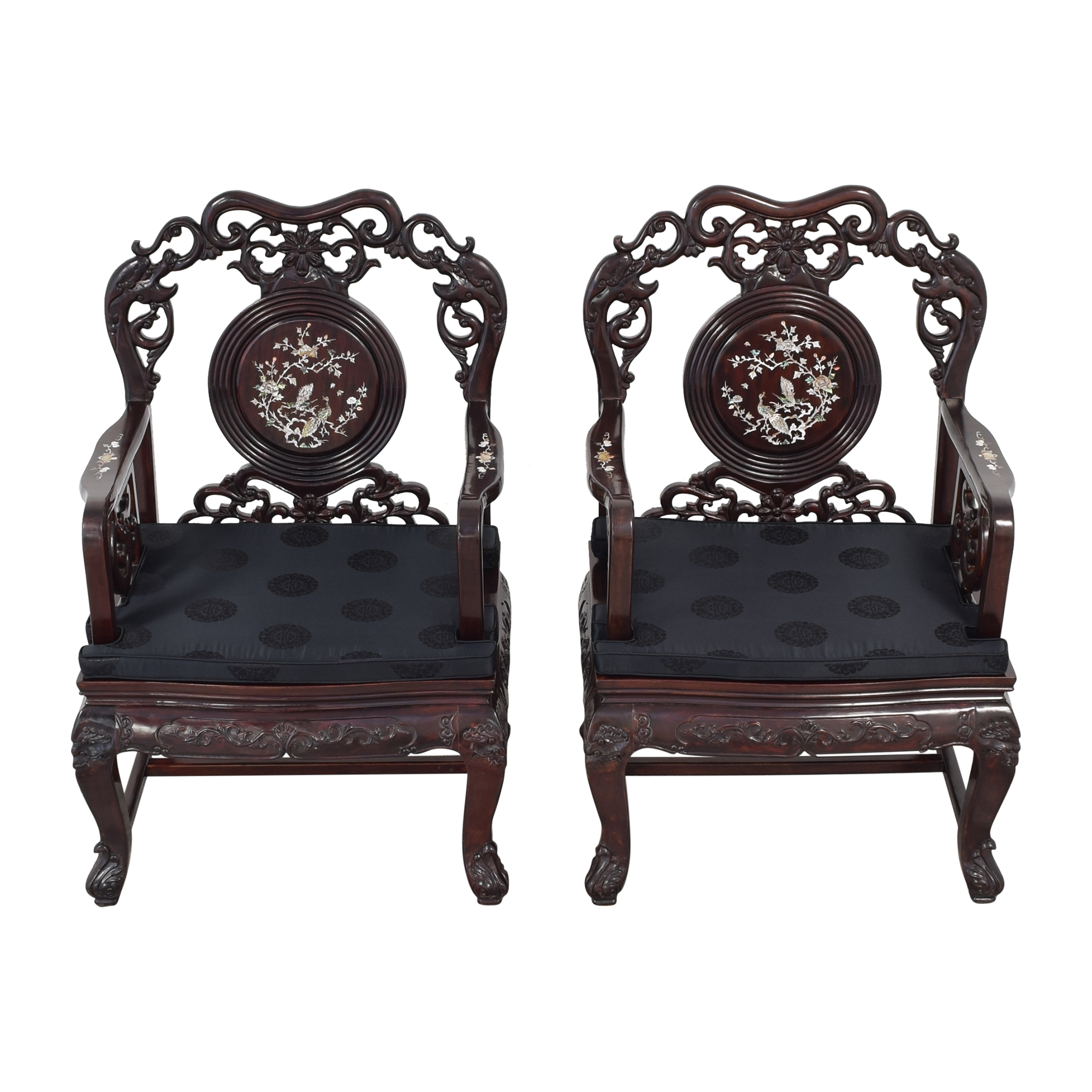 buy Upholstered Carved Chairs with Inlay  Accent Chairs