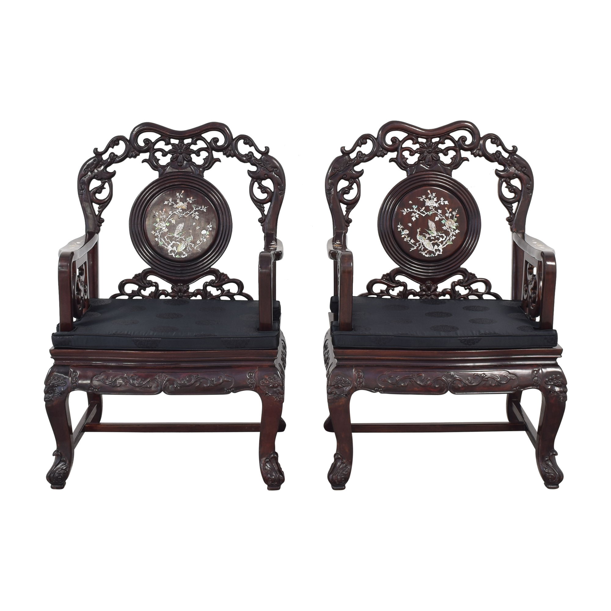 Upholstered Carved Chairs with Inlay pa
