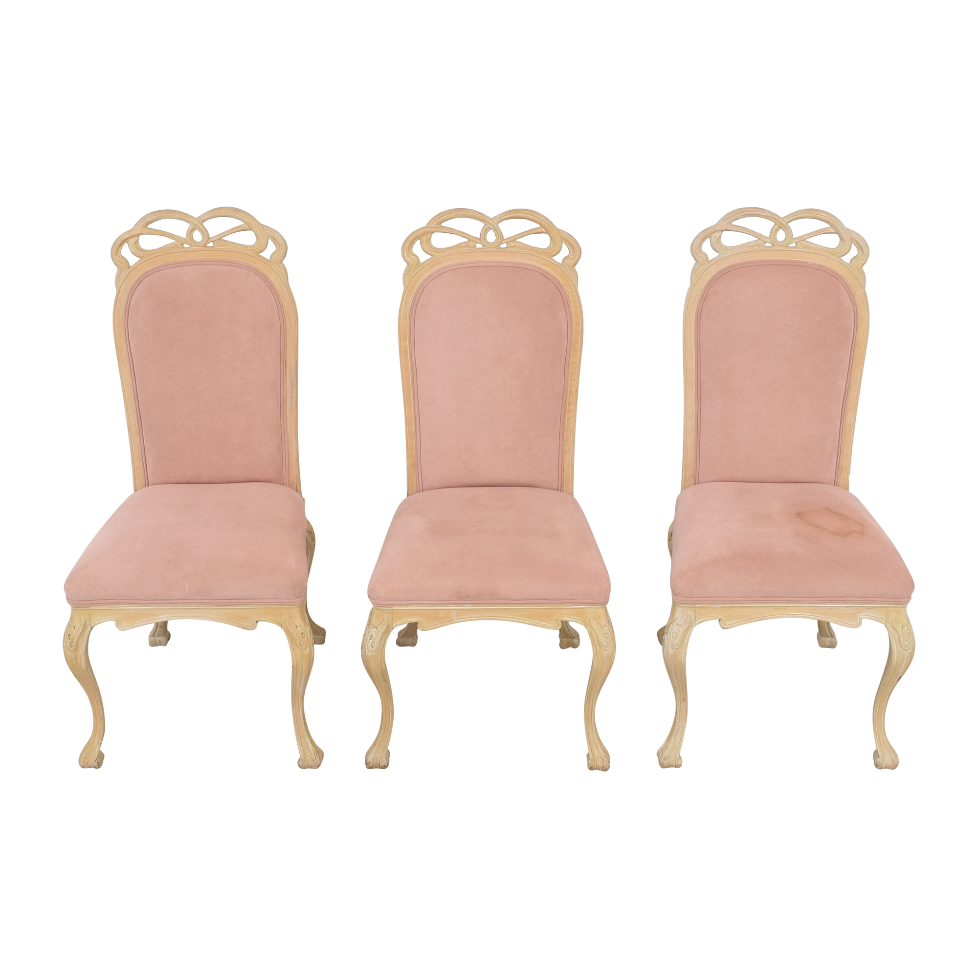 High Back Upholstered Dining Chairs pink