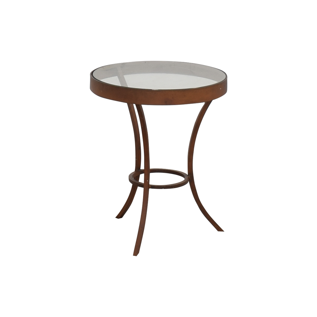 buy Crate & Barrel Side Table with Glass Top Crate & Barrel