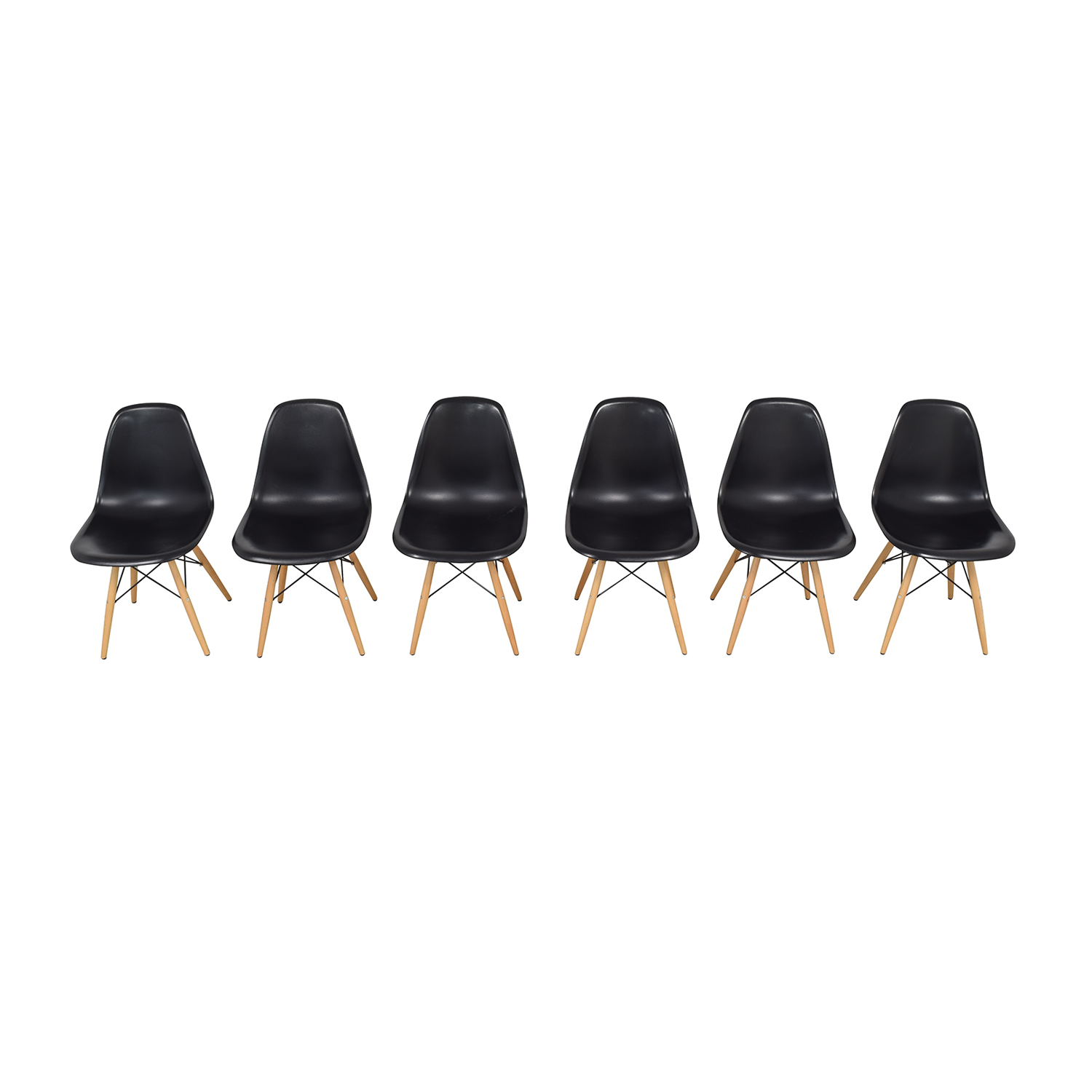 Black Eames-Style Molded Plastic Dining Chairs with Wooden Legs / Chairs