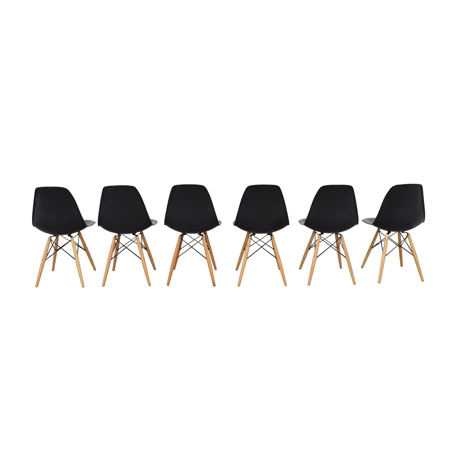 Black Eames-Style Molded Plastic Dining Chairs with Wooden Legs Chairs