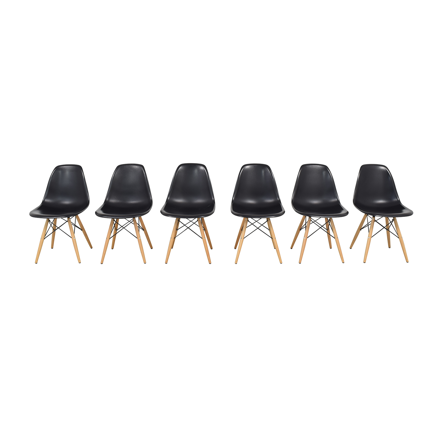 Black Eames-Style Molded Plastic Dining Chairs with Wooden Legs on sale