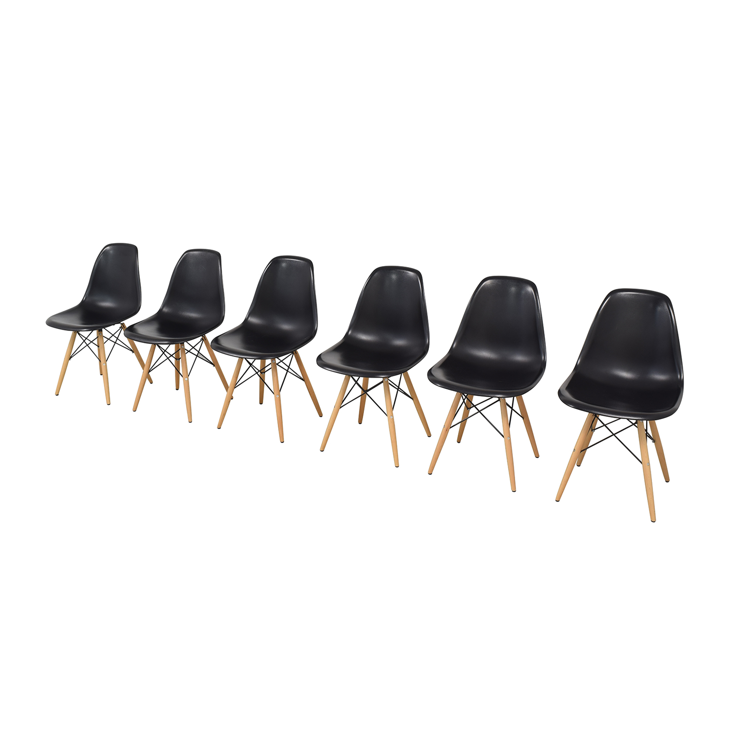 Black Eames-Style Molded Plastic Dining Chairs with Wooden Legs sale