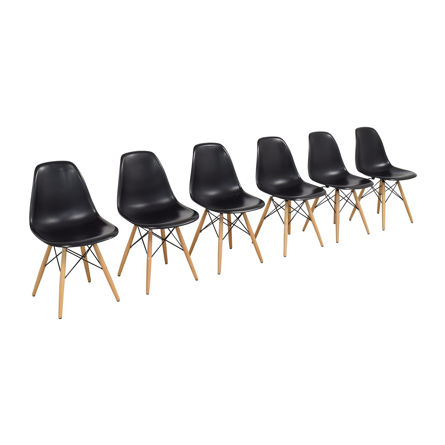shop  Black Eames-Style Molded Plastic Dining Chairs with Wooden Legs online