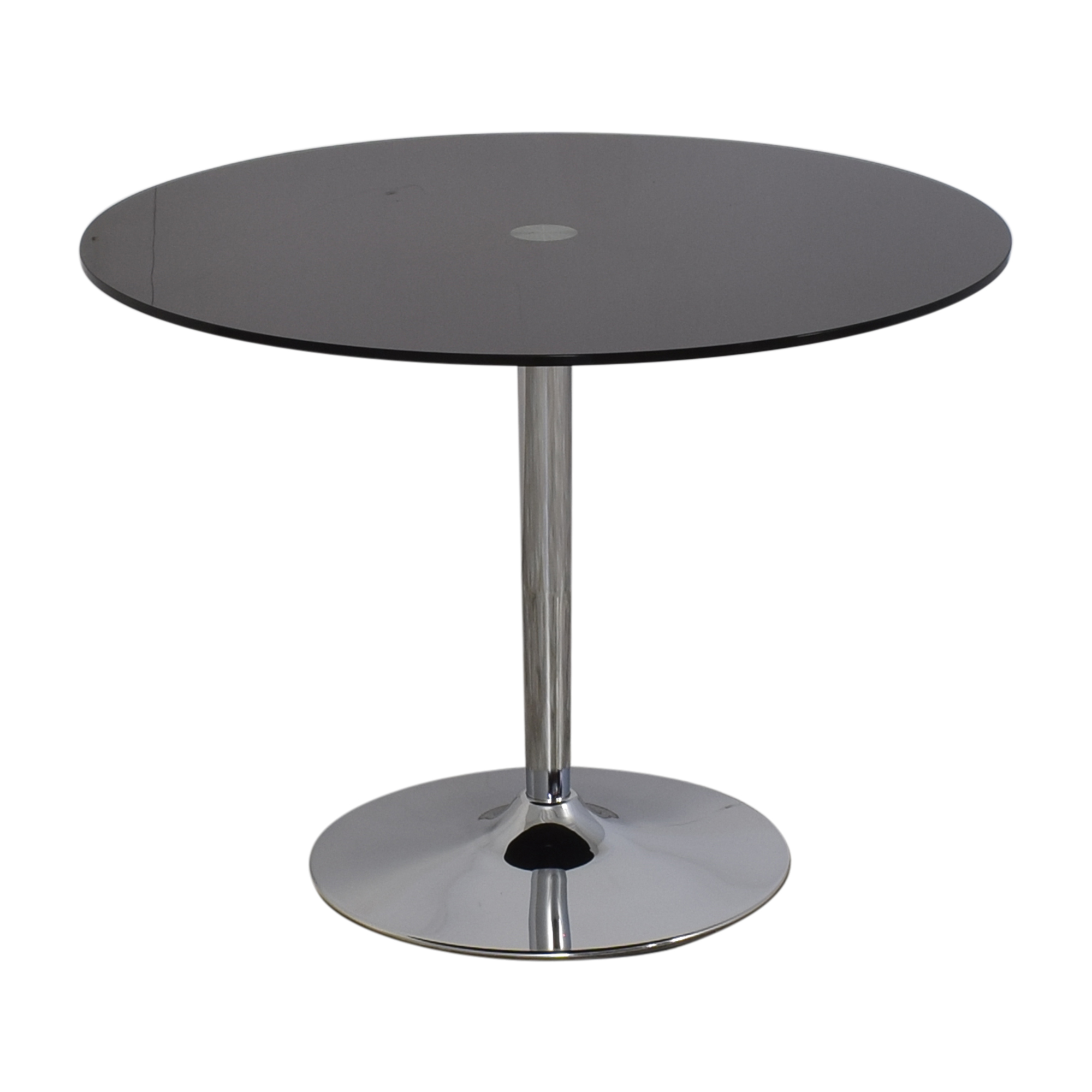Jensen-Lewis Jensen Lewis Black Glass and Chrome Pedestal Dining Table discount