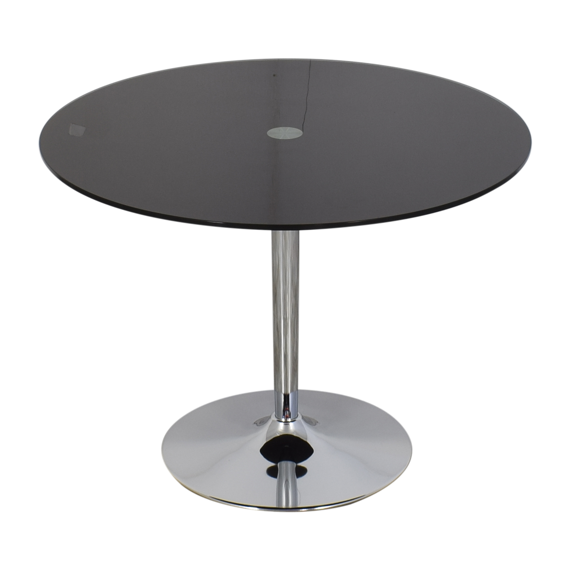 Jensen-Lewis Jensen Lewis Black Glass and Chrome Pedestal Dining Table black and silver