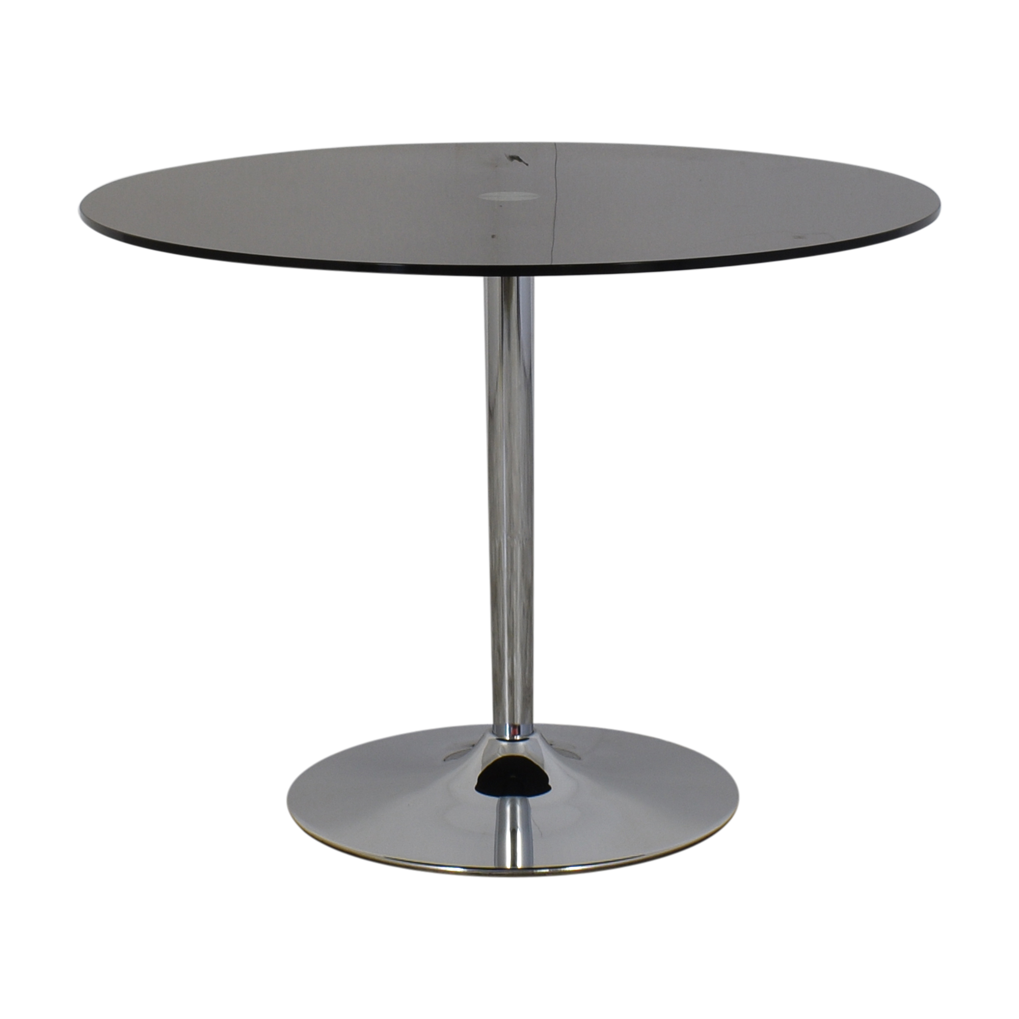 buy Jensen Lewis Black Glass and Chrome Pedestal Dining Table Jensen-Lewis