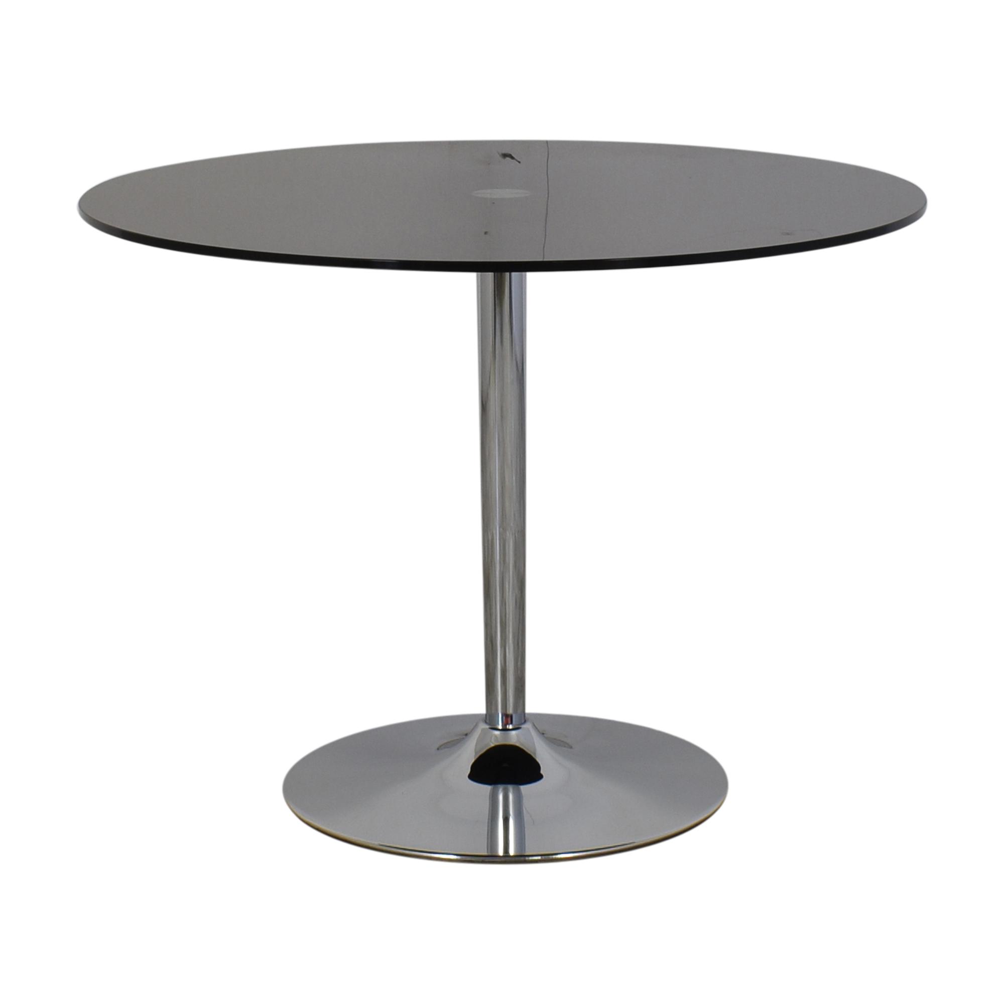 Jensen-Lewis Jensen Lewis Black Glass and Chrome Pedestal Dining Table Tables
