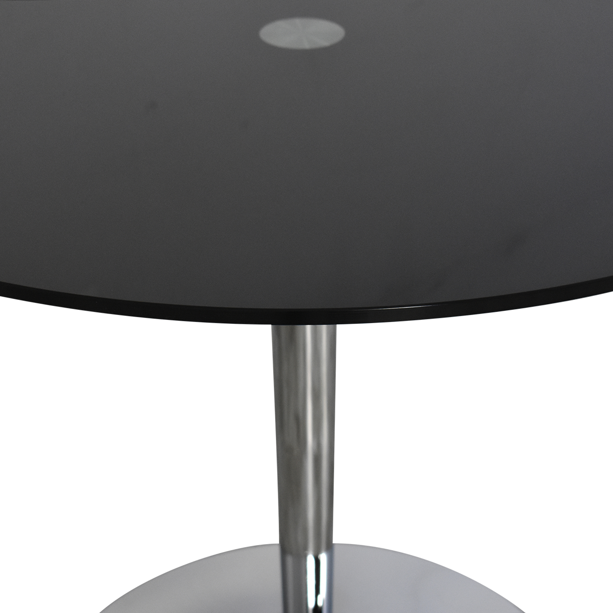 Jensen Lewis Black Glass and Chrome Pedestal Dining Table / Tables
