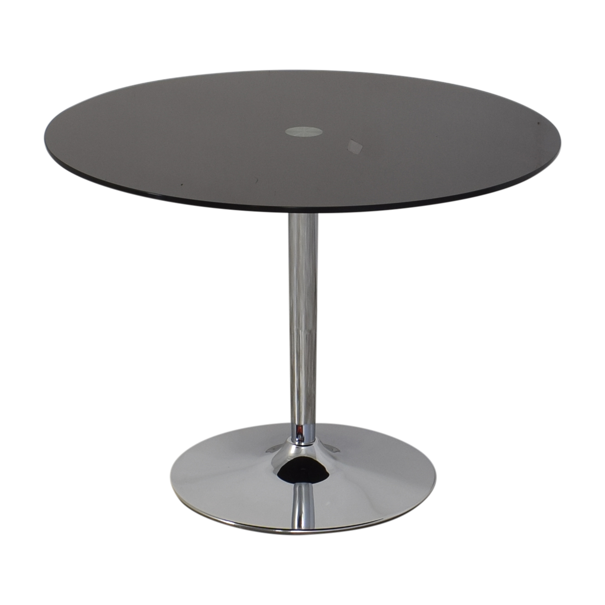 Jensen-Lewis Jensen Lewis Black Glass and Chrome Pedestal Dining Table second hand