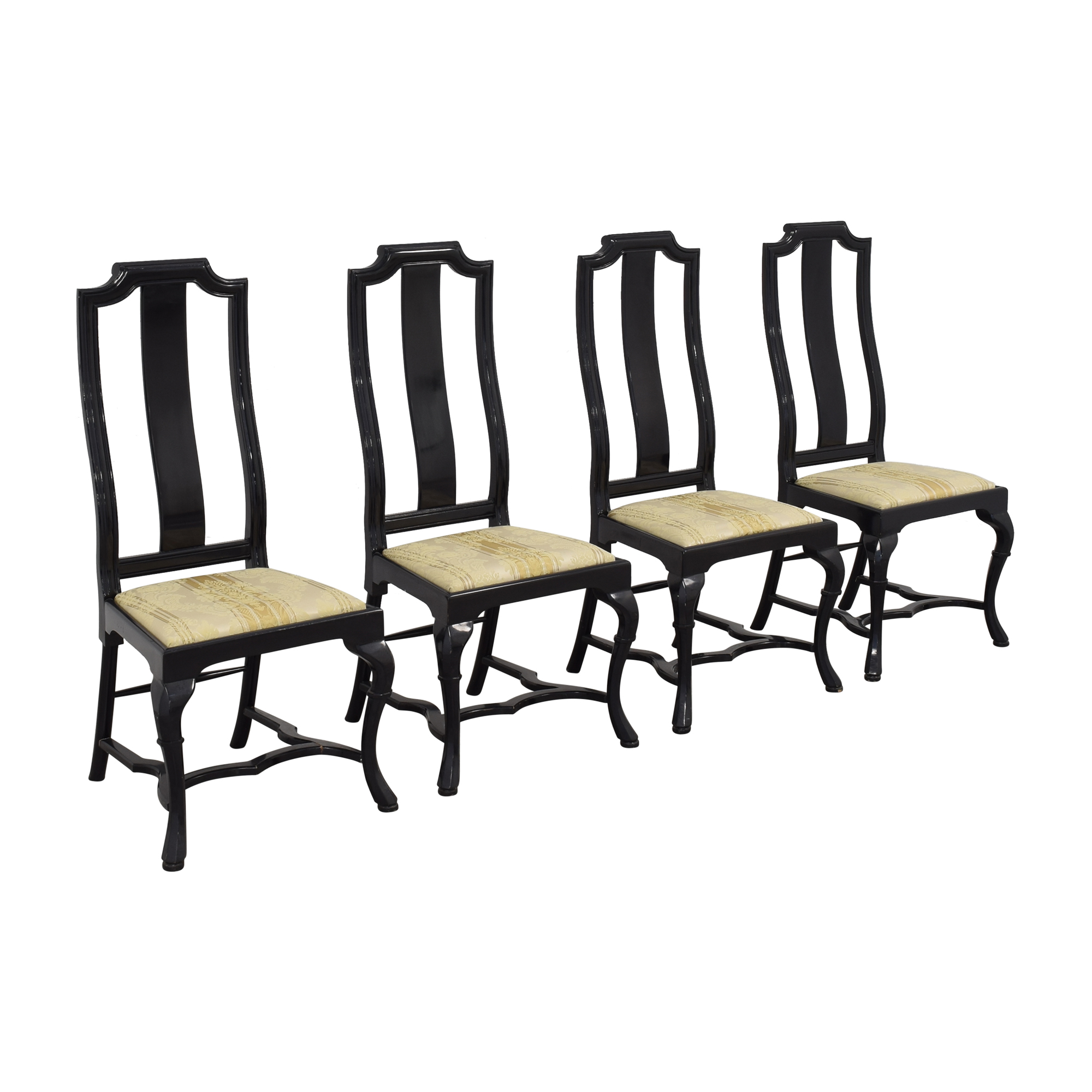 Upholstered Dining Chairs black and tan