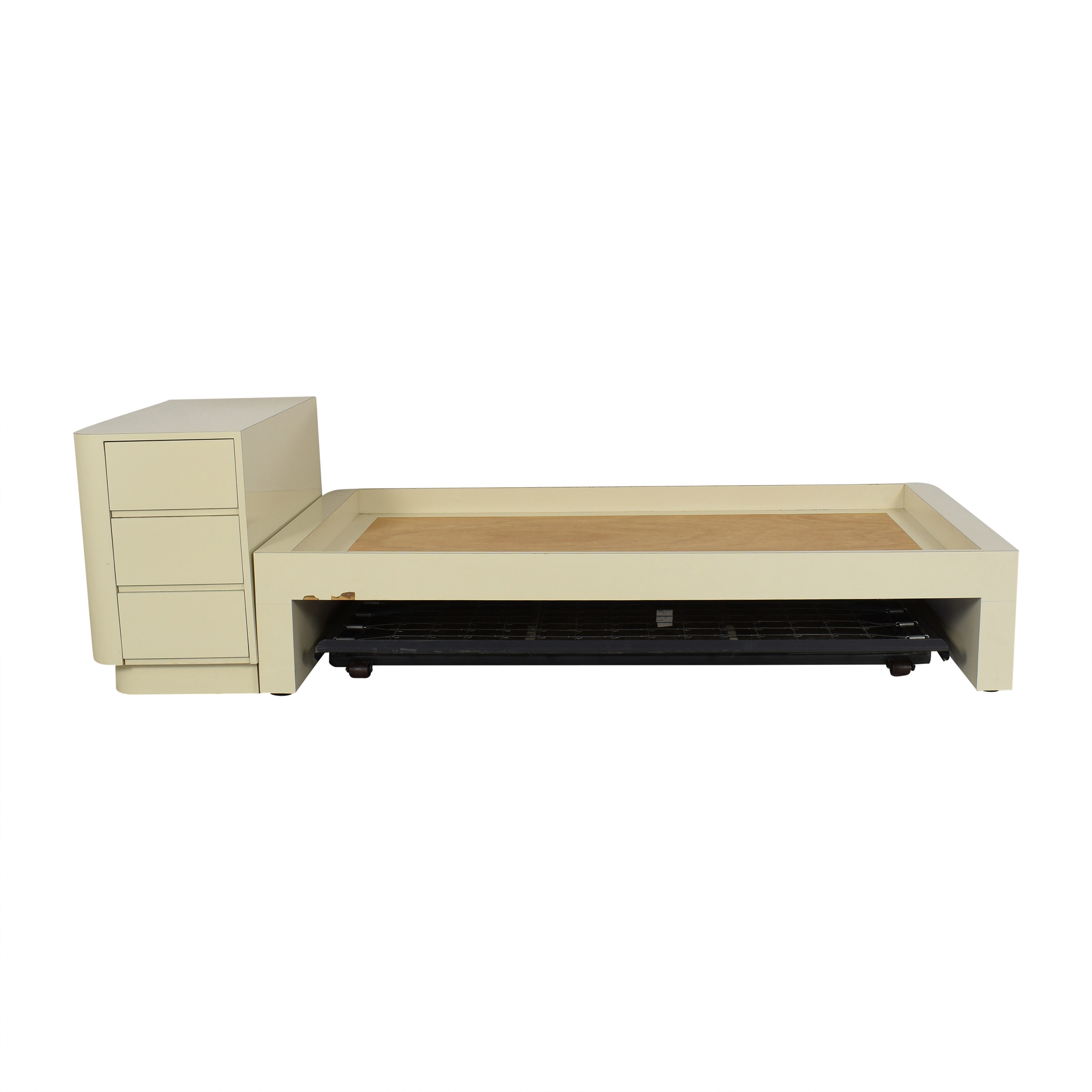 Twin Bed Frame with Dresser Headboard and Trundle ct