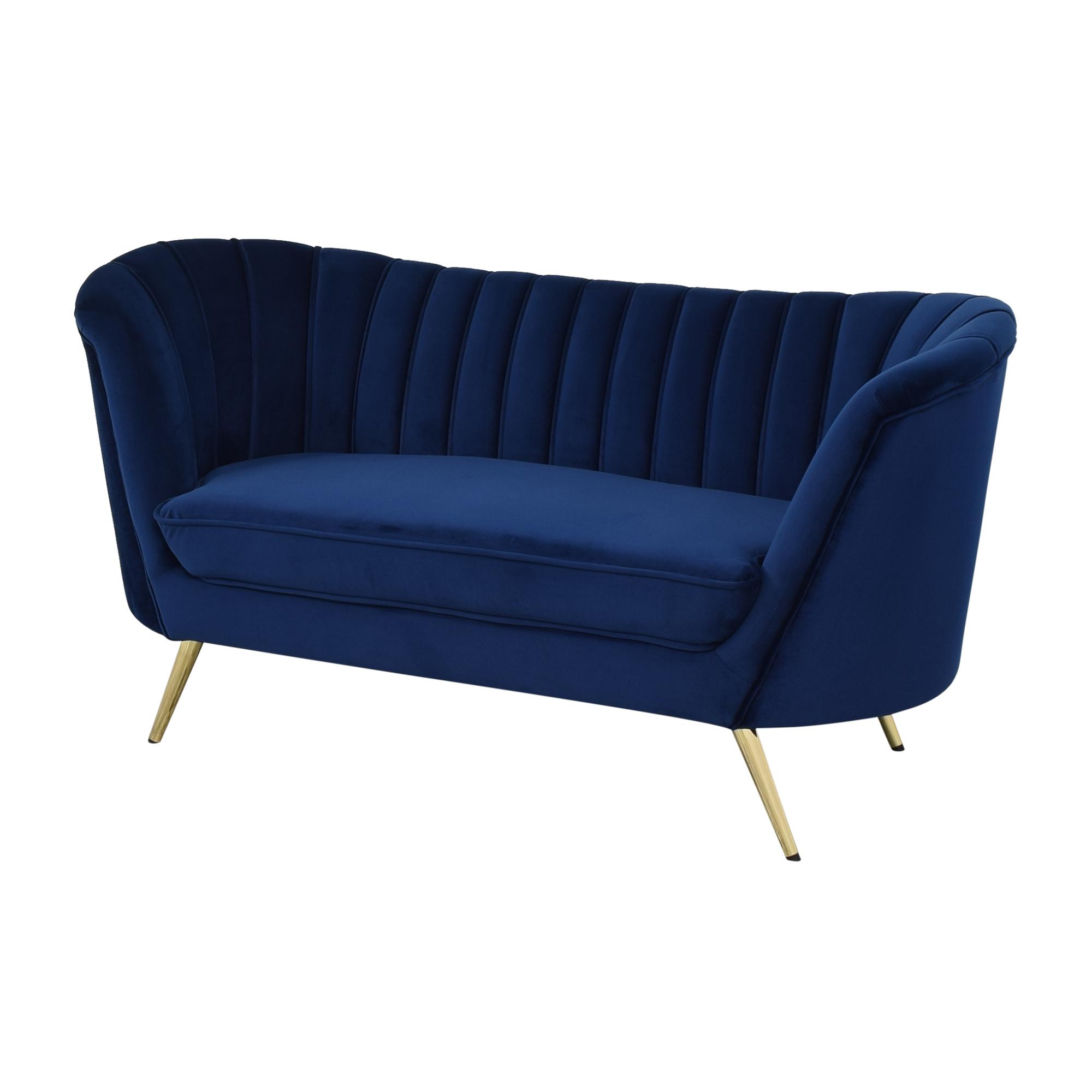 Wayfair Wayfair Koger Chesterfield Round Sofa dark blue